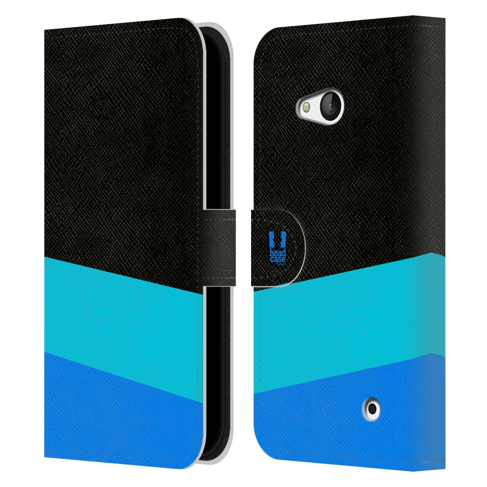 HEAD CASE Flipové pouzdro pro mobil Nokia LUMIA 640 barevné tvary modrá a černá FORMAL