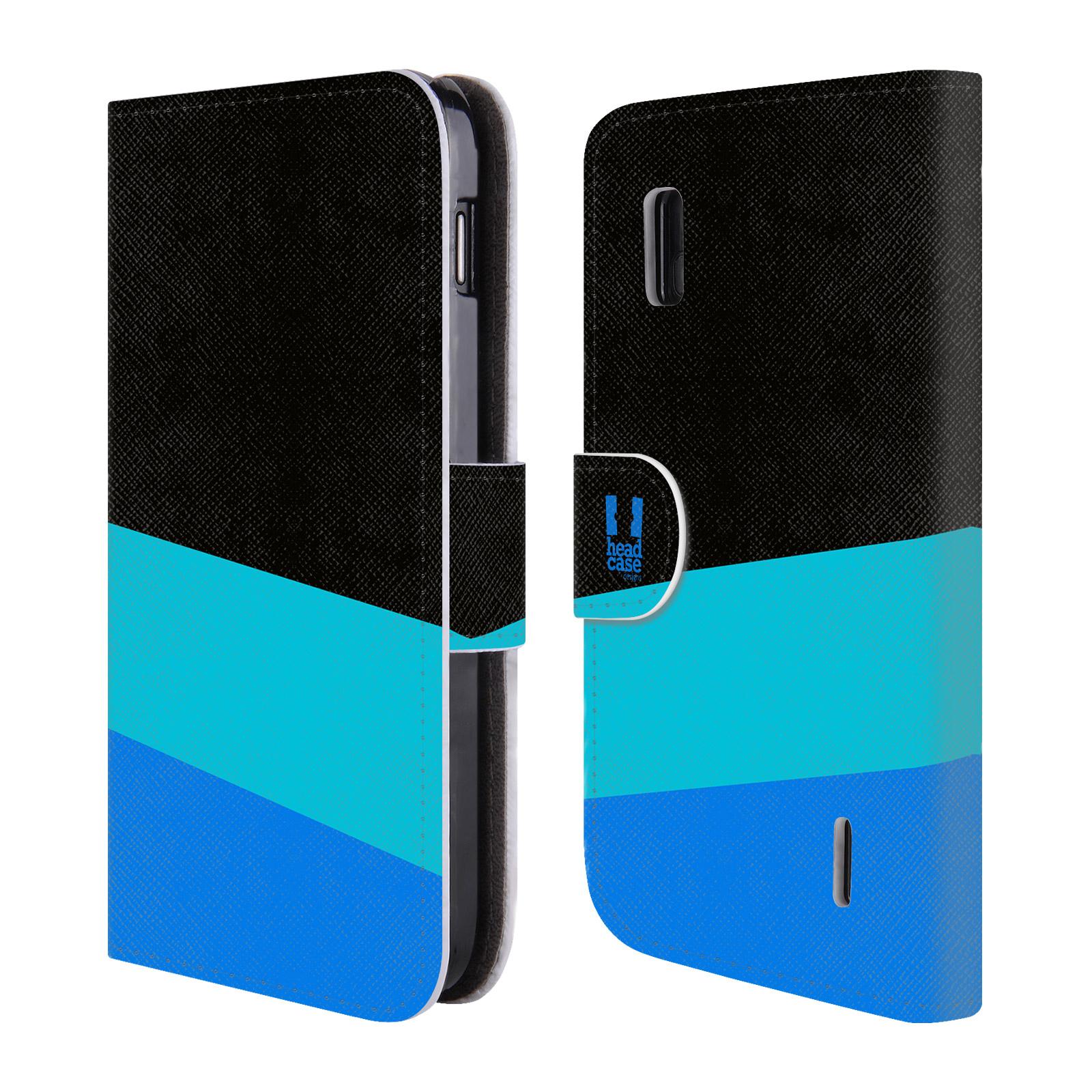 HEAD CASE Flipové pouzdro pro mobil LG NEXUS 4 barevné tvary modrá a černá FORMAL