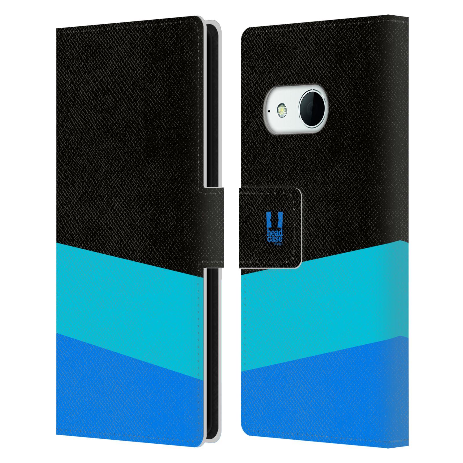 HEAD CASE Flipové pouzdro pro mobil HTC ONE MINI 2 barevné tvary modrá a černá FORMAL