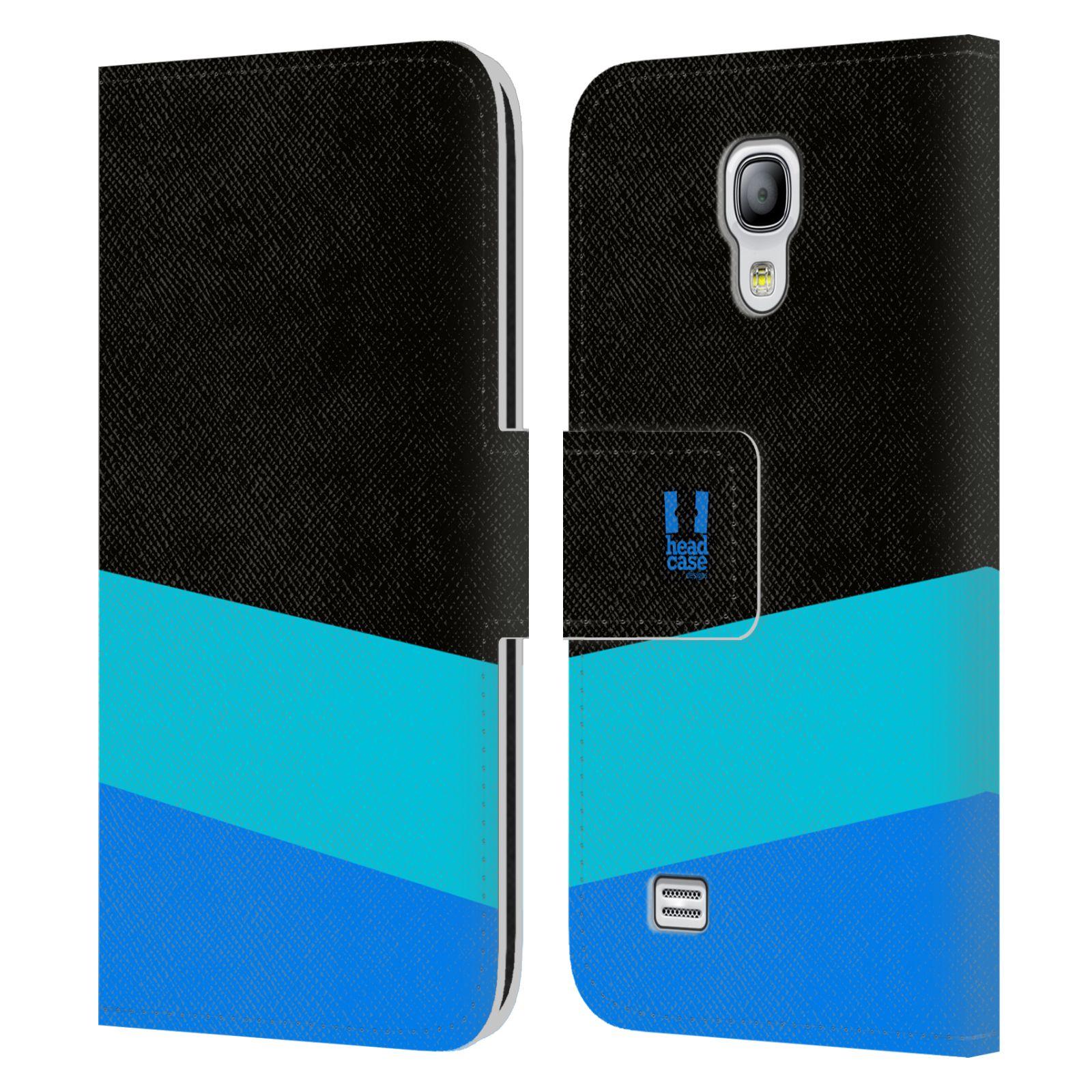 HEAD CASE Flipové pouzdro pro mobil Samsung Galaxy S4 MINI barevné tvary modrá a černá FORMAL