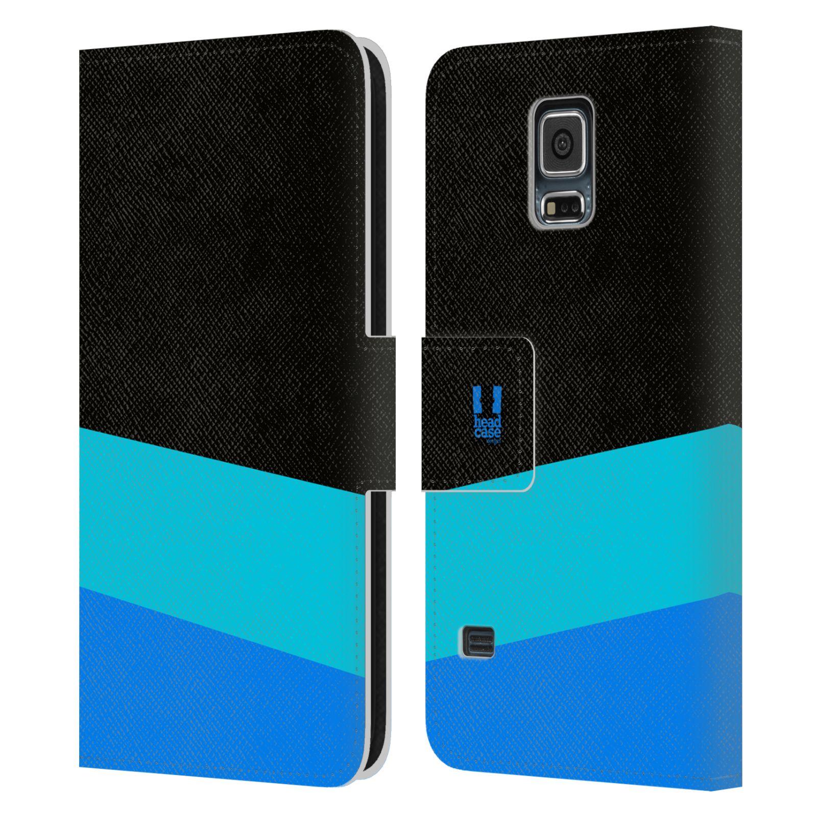 HEAD CASE Flipové pouzdro pro mobil Samsung Galaxy S5 barevné tvary modrá a černá FORMAL