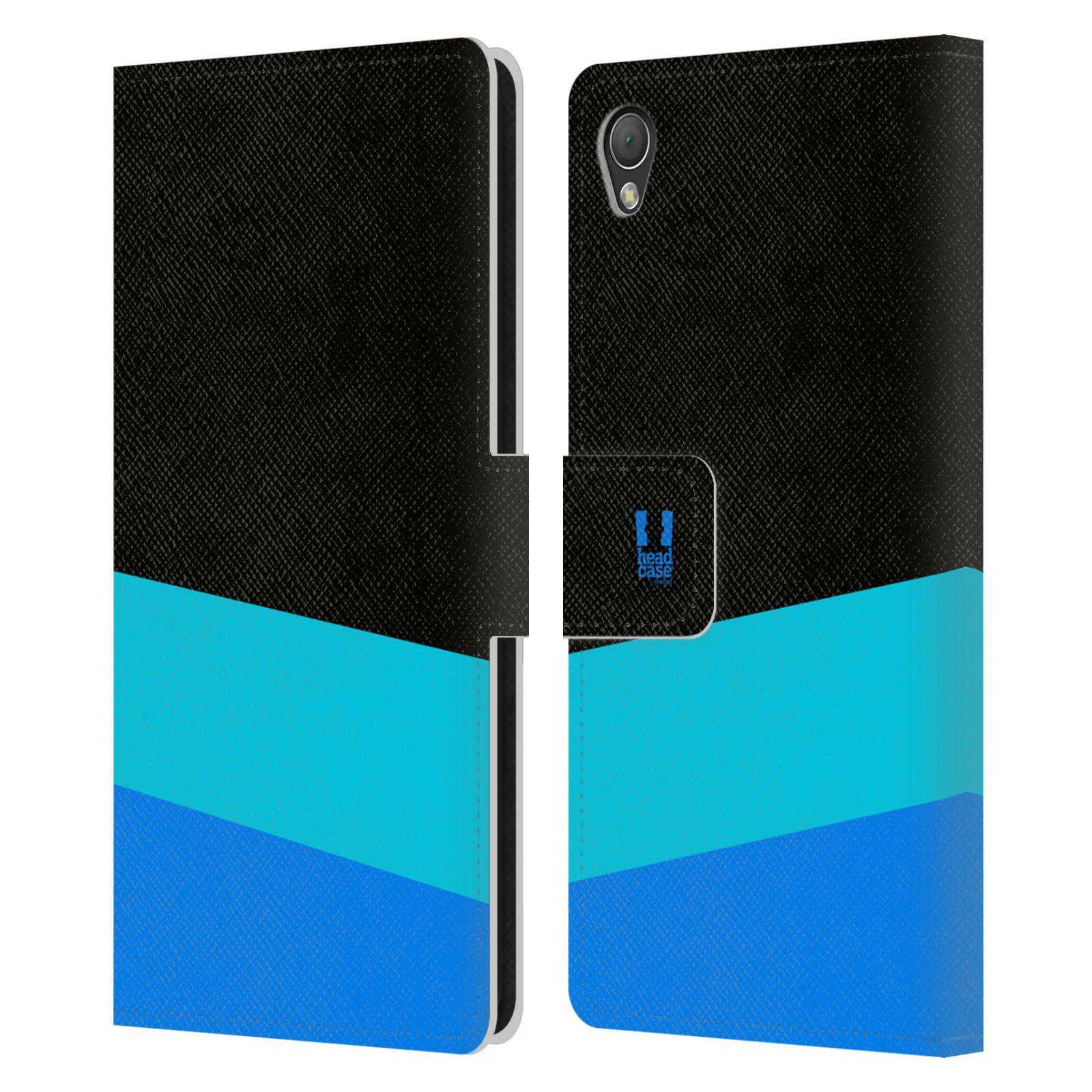 HEAD CASE Flipové pouzdro pro mobil SONY XPERIA Z3 barevné tvary modrá a černá FORMAL