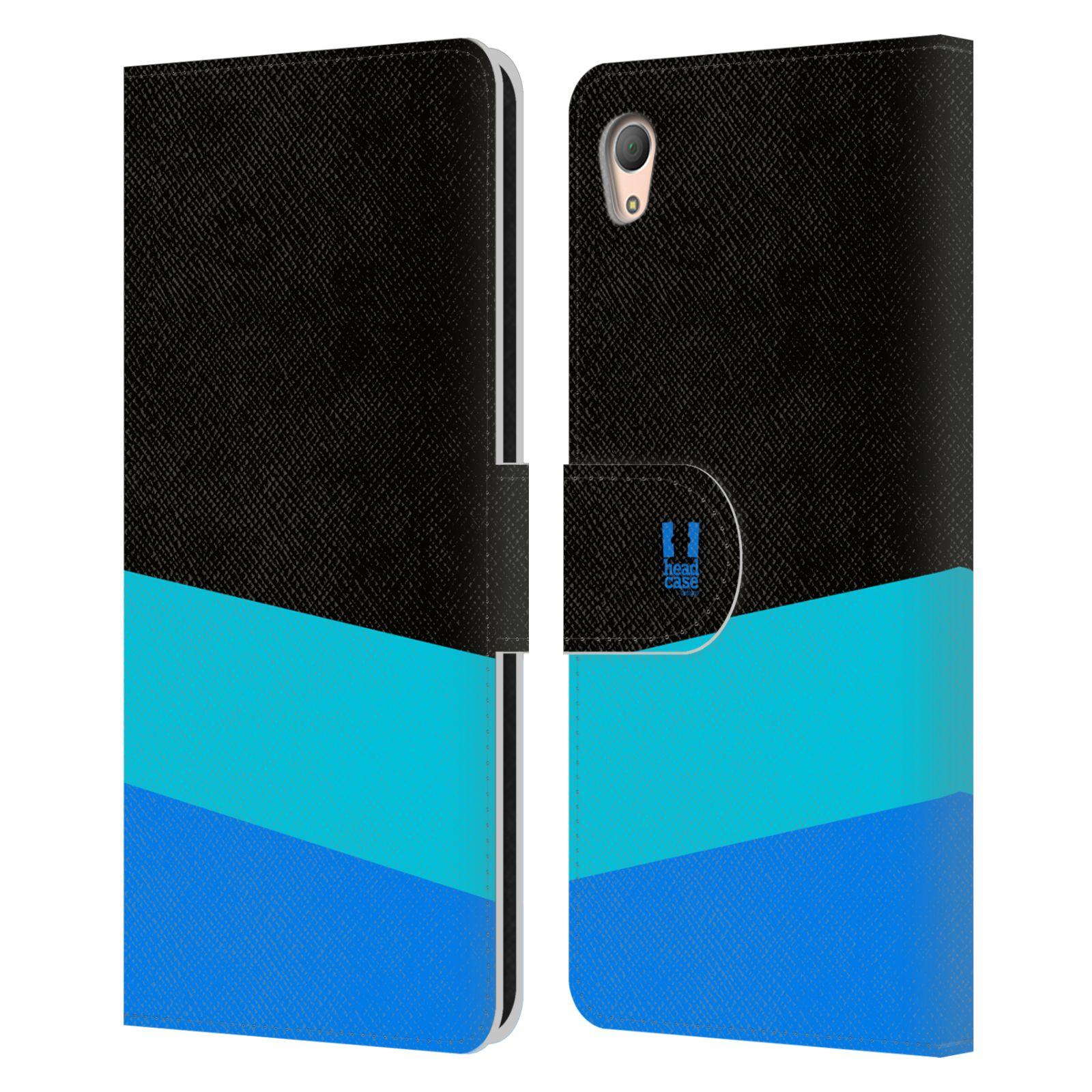 HEAD CASE Flipové pouzdro pro mobil SONY XPERIA Z3+(Z3 PLUS) barevné tvary modrá a černá FORMAL