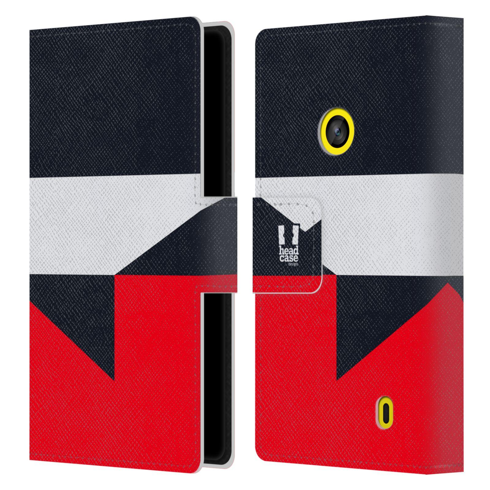 HEAD CASE Flipové pouzdro pro mobil Nokia LUMIA 520/525 barevné tvary černá a červená gejša