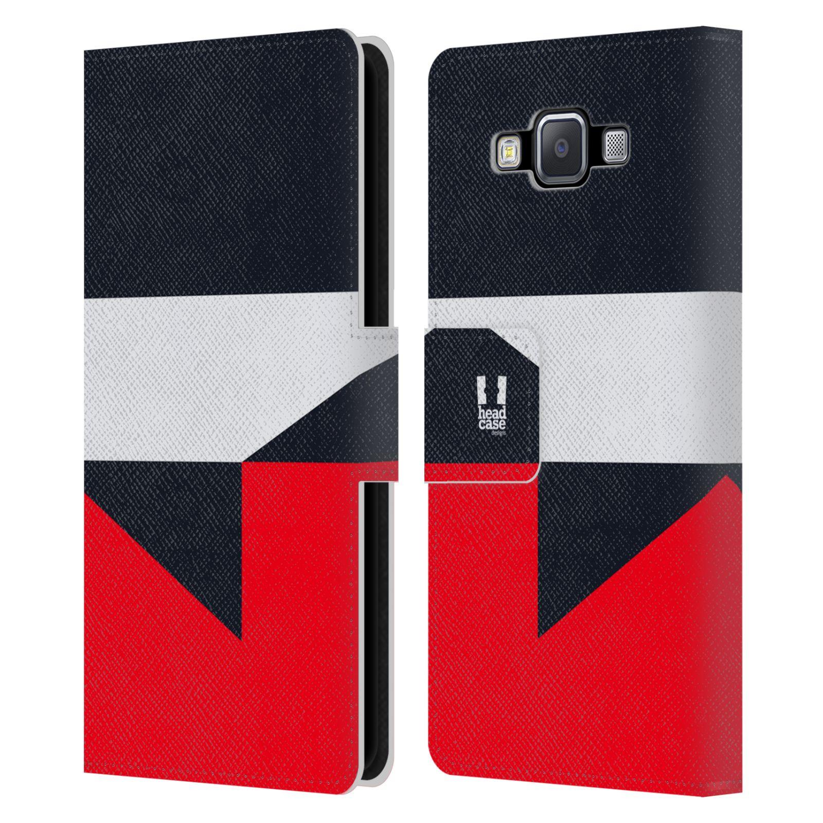 HEAD CASE Flipové pouzdro pro mobil Samsung Galaxy A5 barevné tvary černá a červená gejša