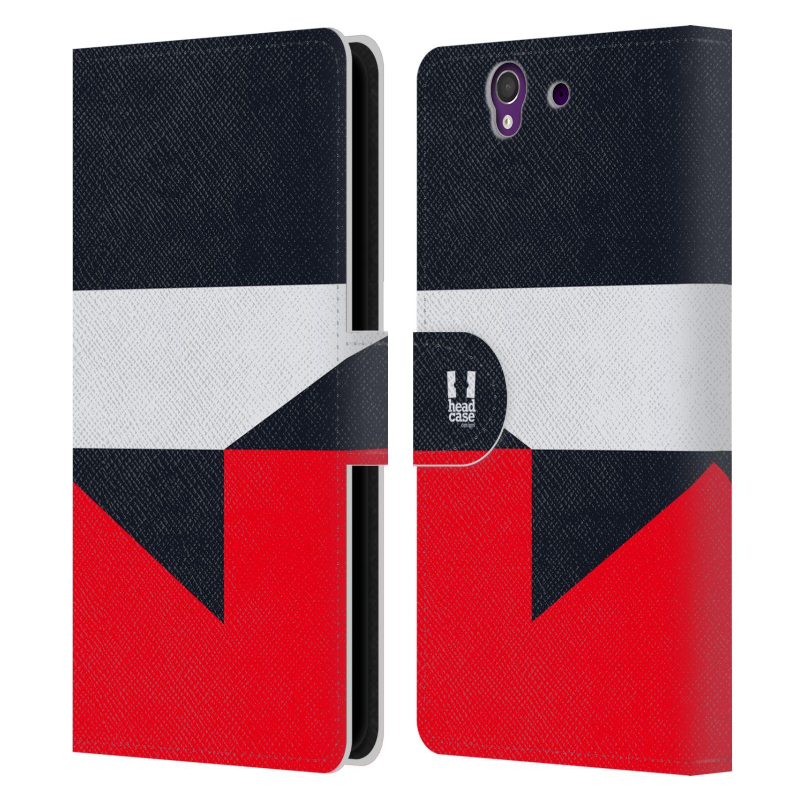 HEAD CASE Flipové pouzdro pro mobil SONY Xperia Z barevné tvary černá a červená gejša