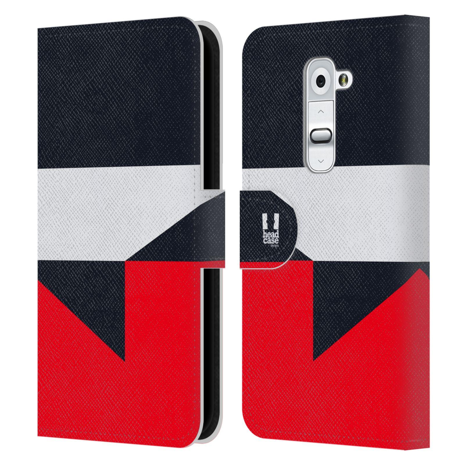 HEAD CASE Flipové pouzdro pro mobil LG G2 barevné tvary černá a červená gejša