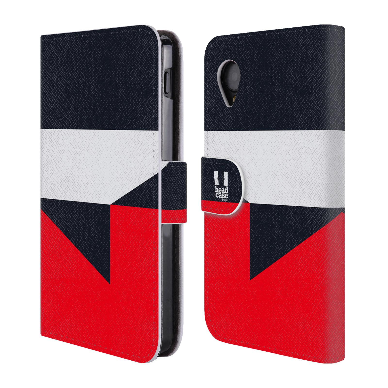 HEAD CASE Flipové pouzdro pro mobil LG GOOGLE NEXUS 5 barevné tvary černá a červená gejša