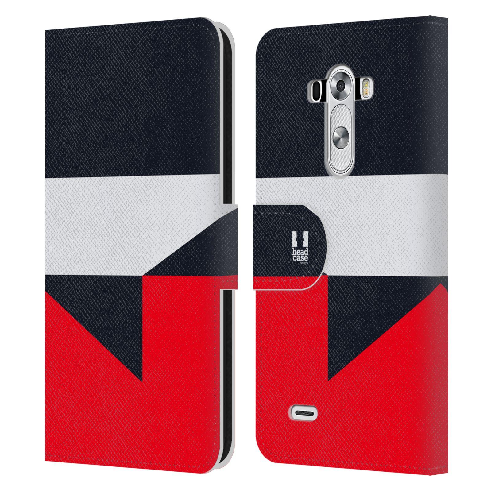 HEAD CASE Flipové pouzdro pro mobil LG G3 barevné tvary černá a červená gejša