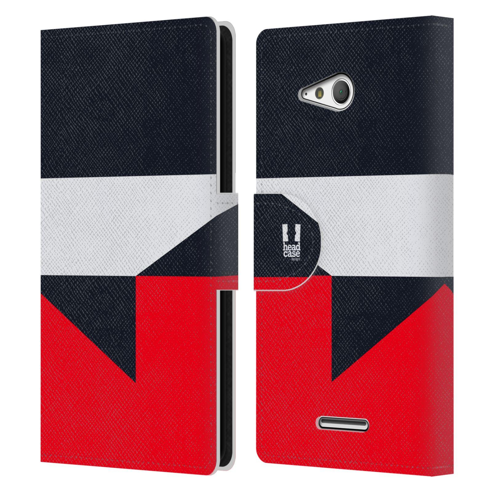 HEAD CASE Flipové pouzdro pro mobil SONY Xperia E4g barevné tvary černá a červená gejša