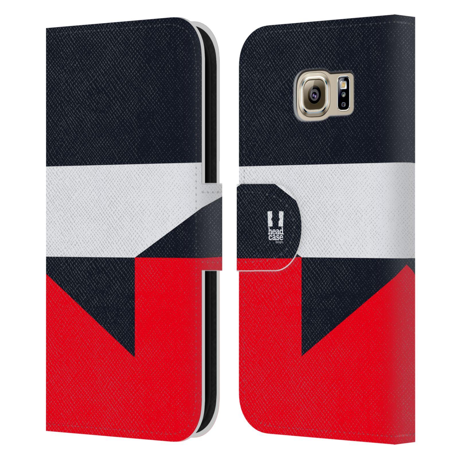HEAD CASE Flipové pouzdro pro mobil Samsung Galaxy S6 barevné tvary černá a červená gejša