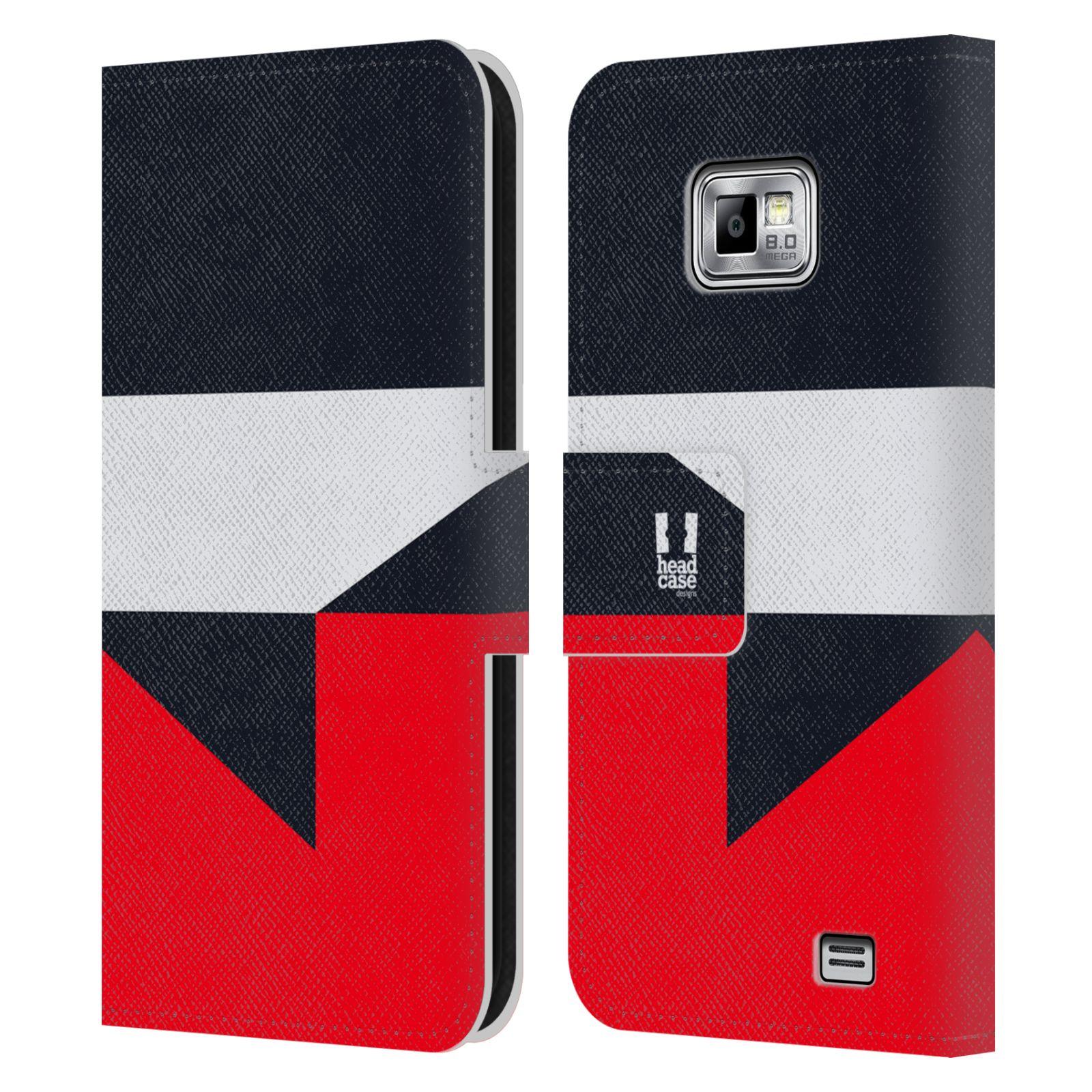 HEAD CASE Flipové pouzdro pro mobil Samsung Galaxy S2 i9100 barevné tvary černá a červená gejša