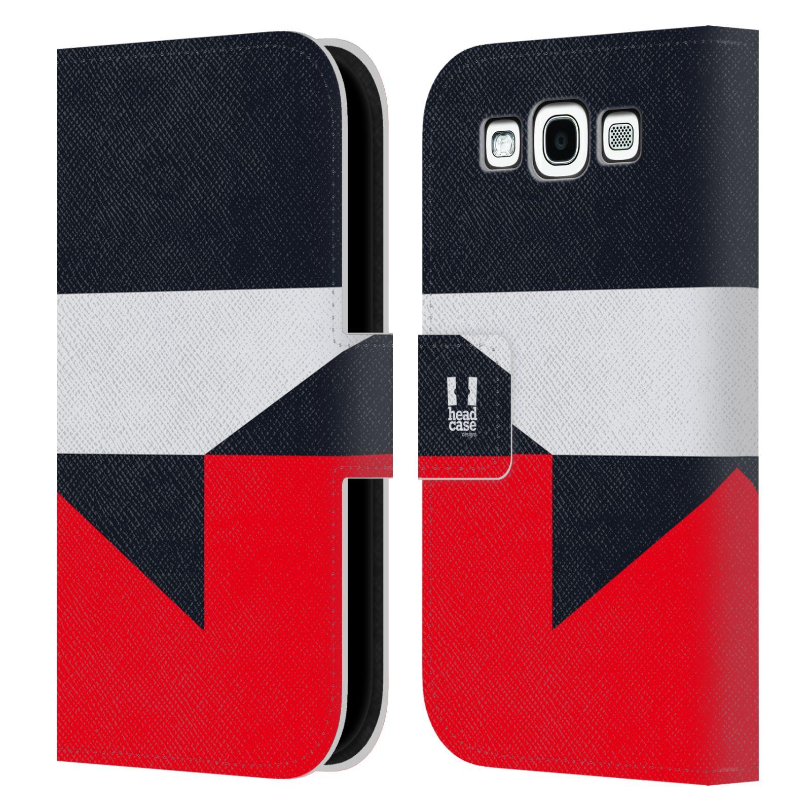 HEAD CASE Flipové pouzdro pro mobil Samsung Galaxy S3 I9300 barevné tvary černá a červená gejša
