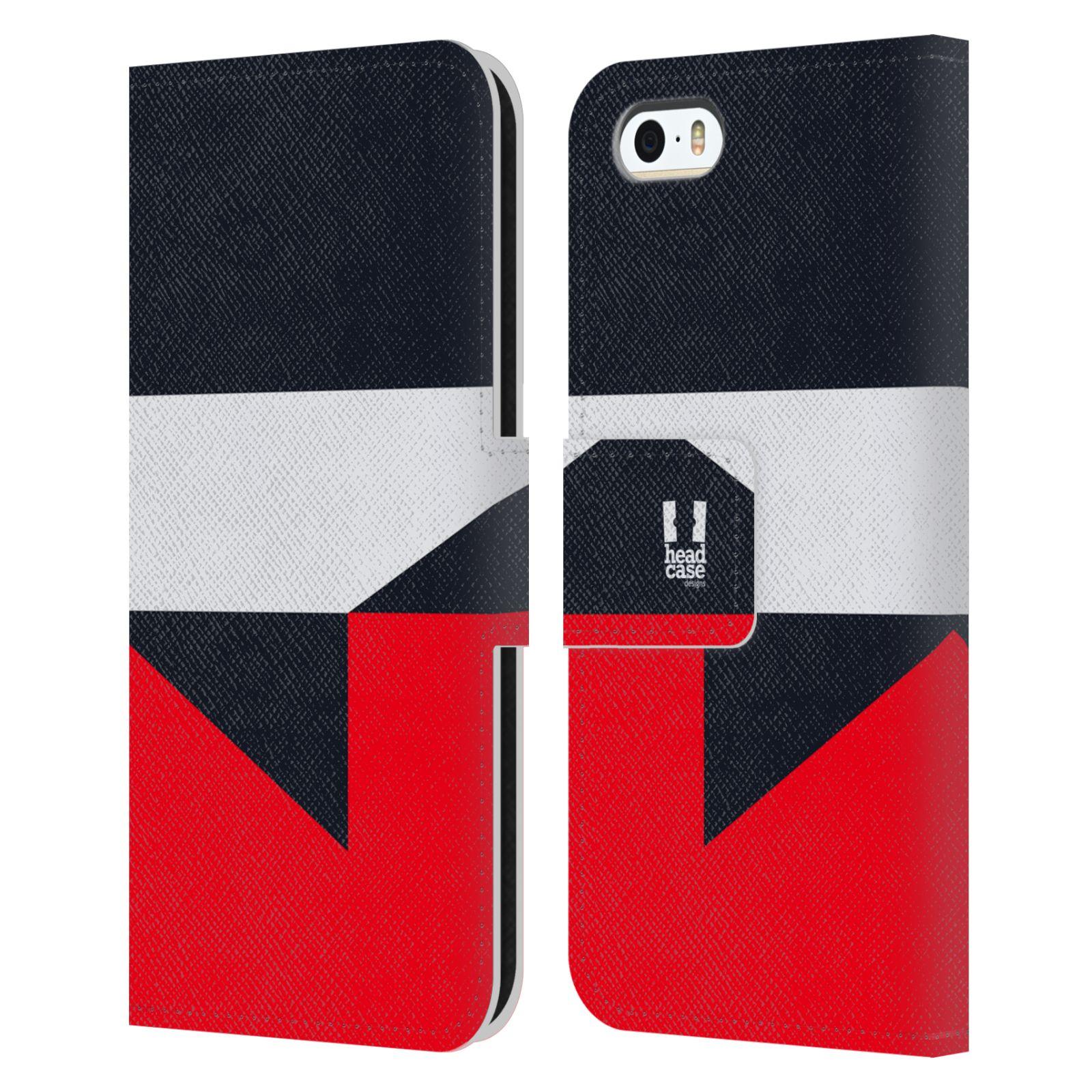 HEAD CASE Flipové pouzdro pro mobil Apple Iphone 5/5S barevné tvary černá a červená gejša