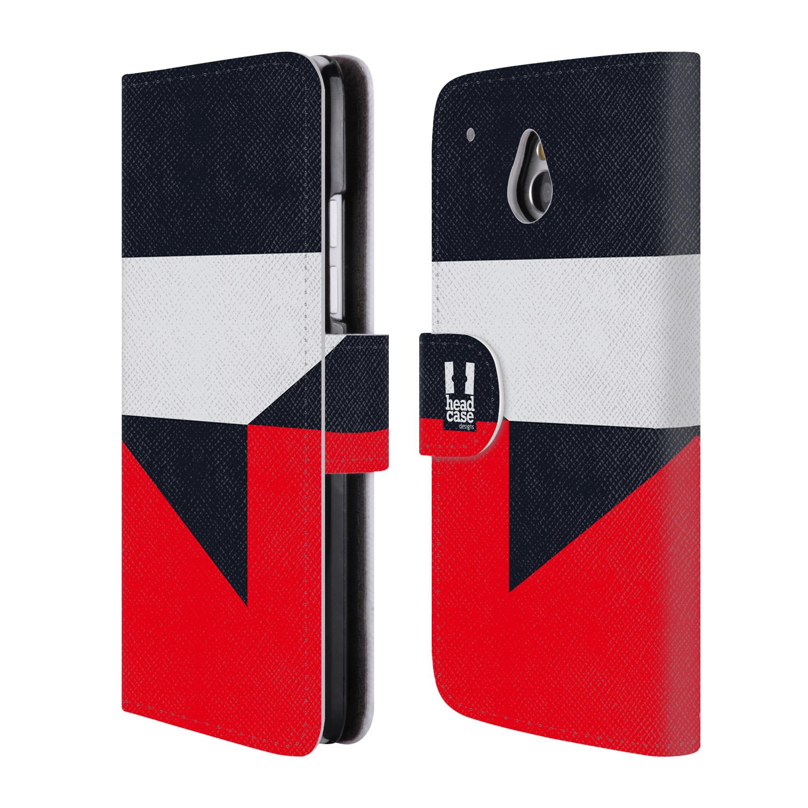 HEAD CASE Flipové pouzdro pro mobil HTC ONE MINI barevné tvary černá a červená gejša