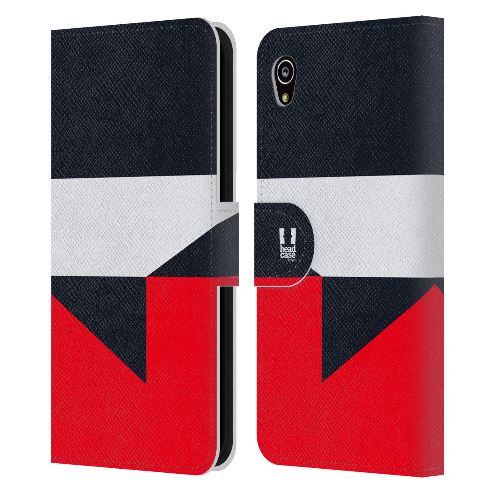 HEAD CASE Flipové pouzdro pro mobil SONY Xperia M4 Aqua barevné tvary černá a červená gejša