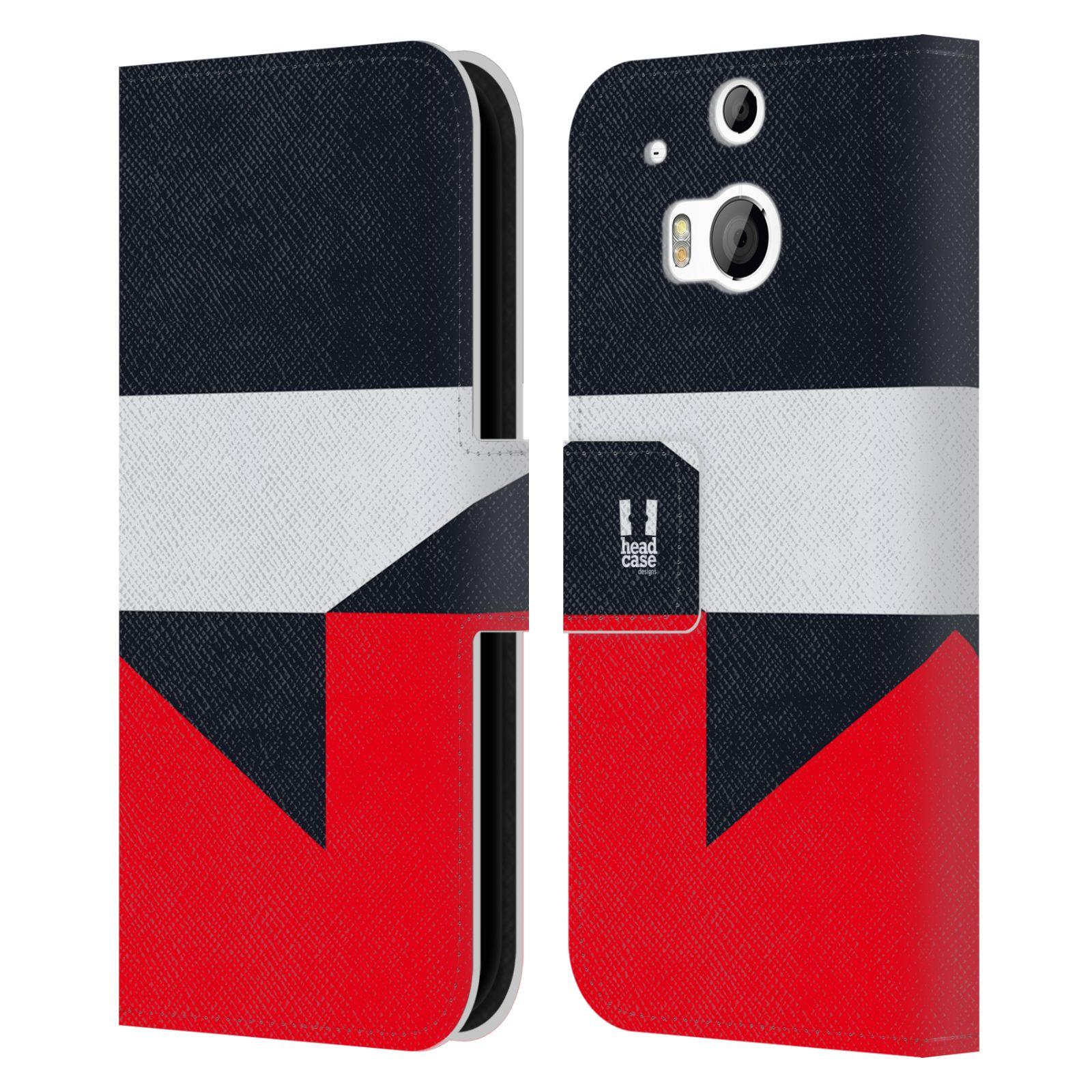 HEAD CASE Flipové pouzdro pro mobil HTC ONE M8/M8s barevné tvary černá a červená gejša