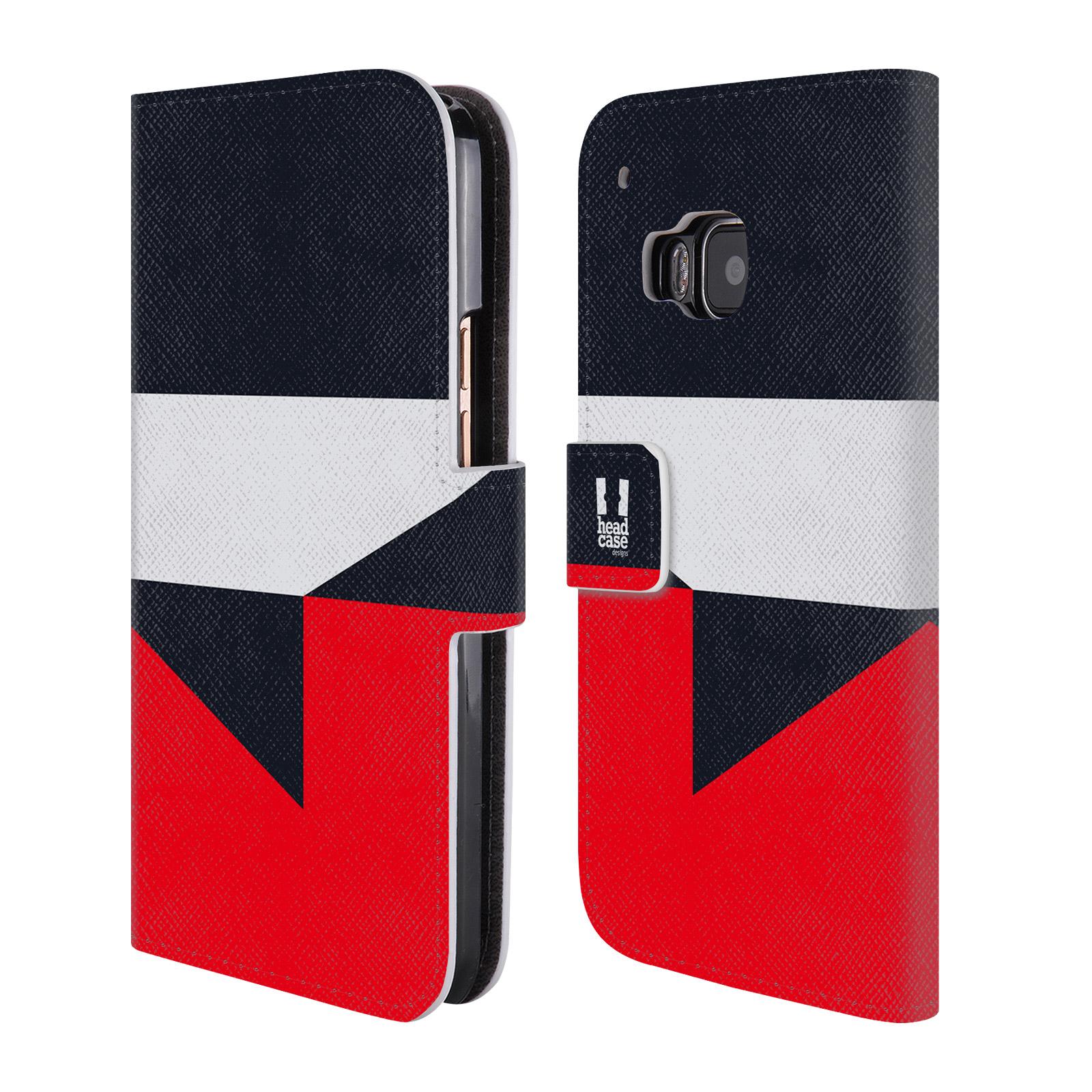 HEAD CASE Flipové pouzdro pro mobil HTC ONE M9 barevné tvary černá a červená gejša