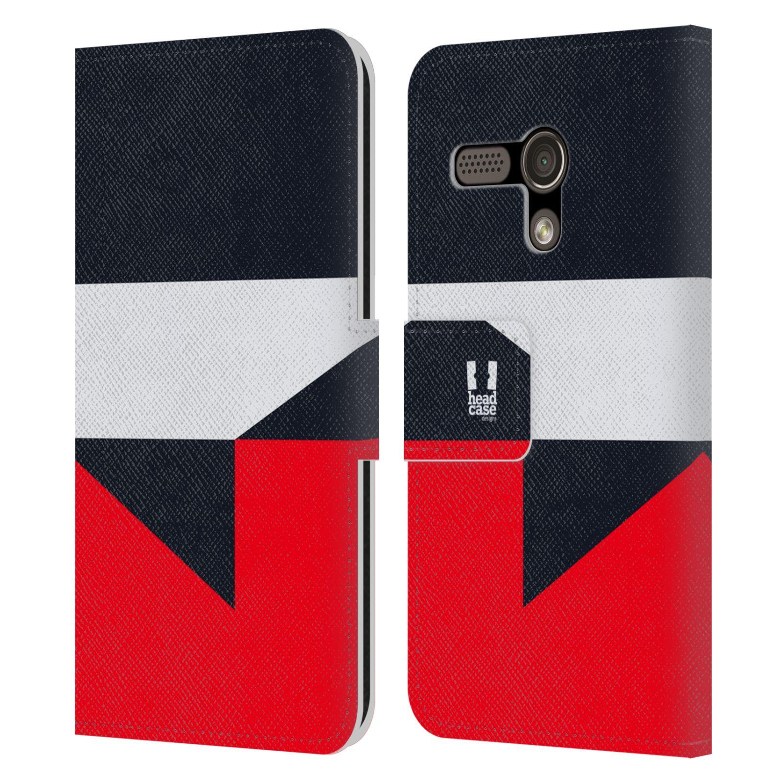HEAD CASE Flipové pouzdro pro mobil Motorola MOTO G barevné tvary černá a červená gejša