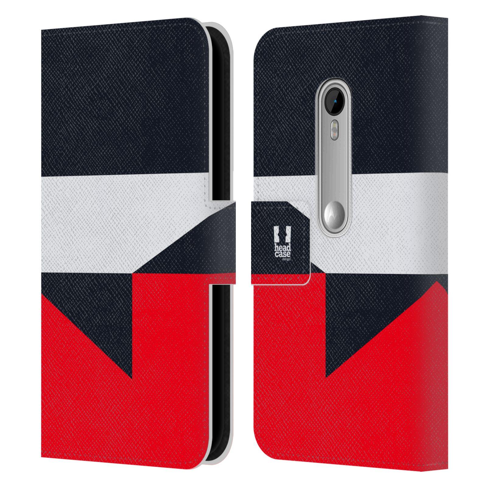 HEAD CASE Flipové pouzdro pro mobil Motorola MOTO G 3RD GENERATION barevné tvary černá a červená gejša