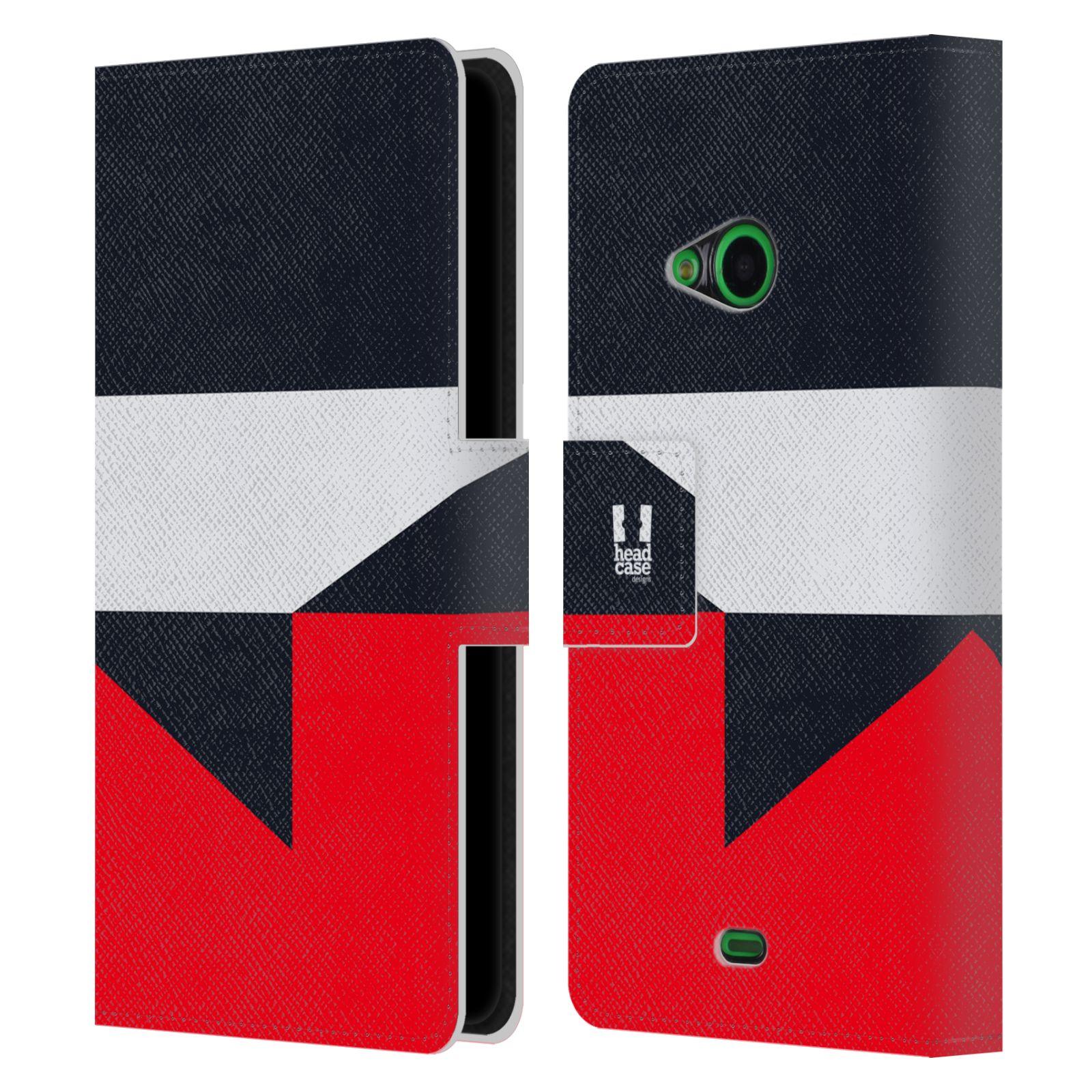 HEAD CASE Flipové pouzdro pro mobil Nokia LUMIA 535 barevné tvary černá a červená gejša