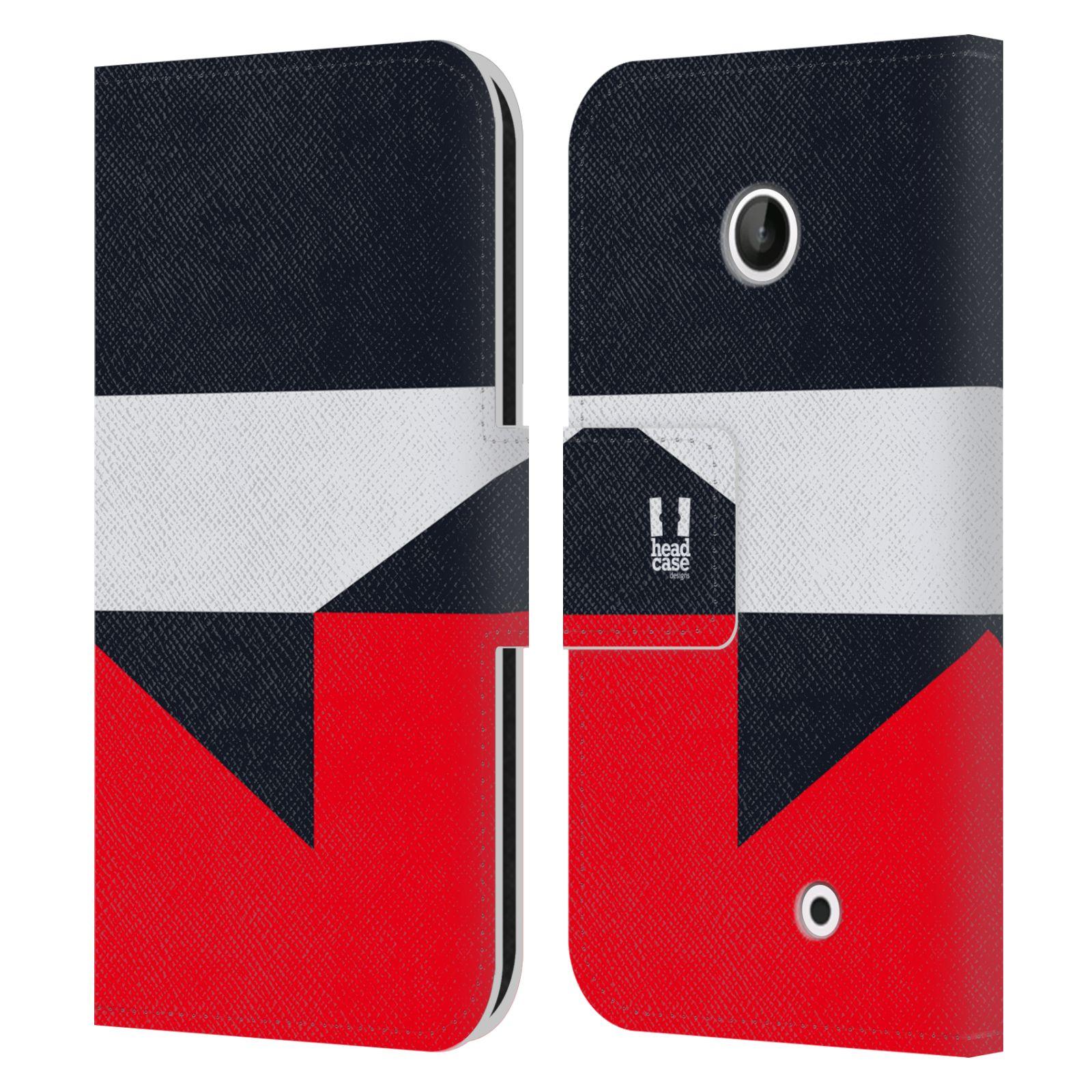 HEAD CASE Flipové pouzdro pro mobil Nokia LUMIA 630/630 DUAL barevné tvary černá a červená gejša