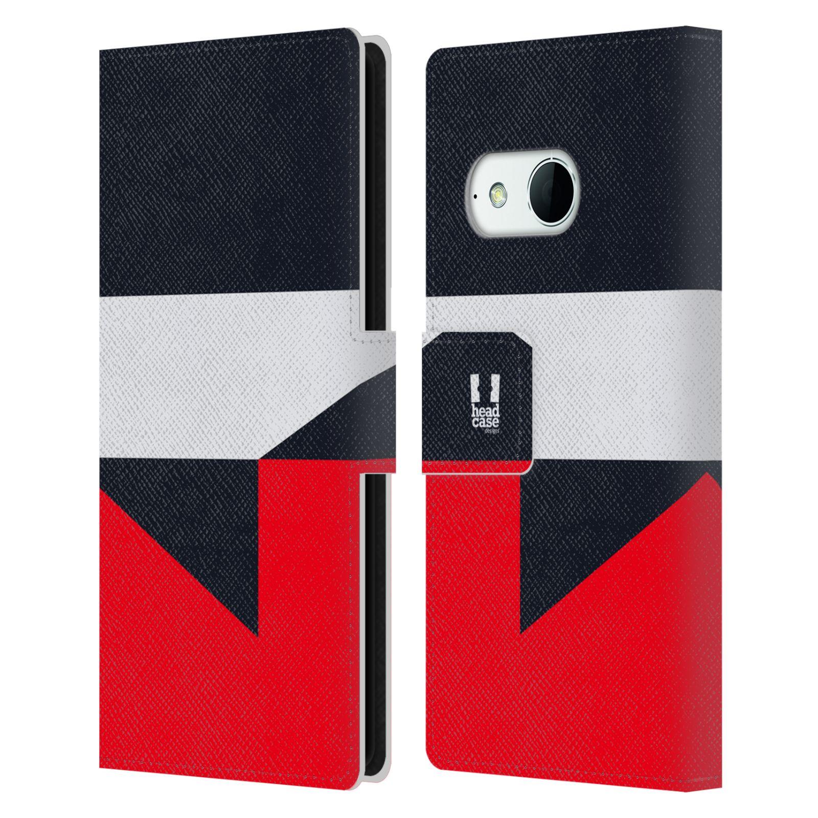 HEAD CASE Flipové pouzdro pro mobil HTC ONE MINI 2 barevné tvary černá a červená gejša