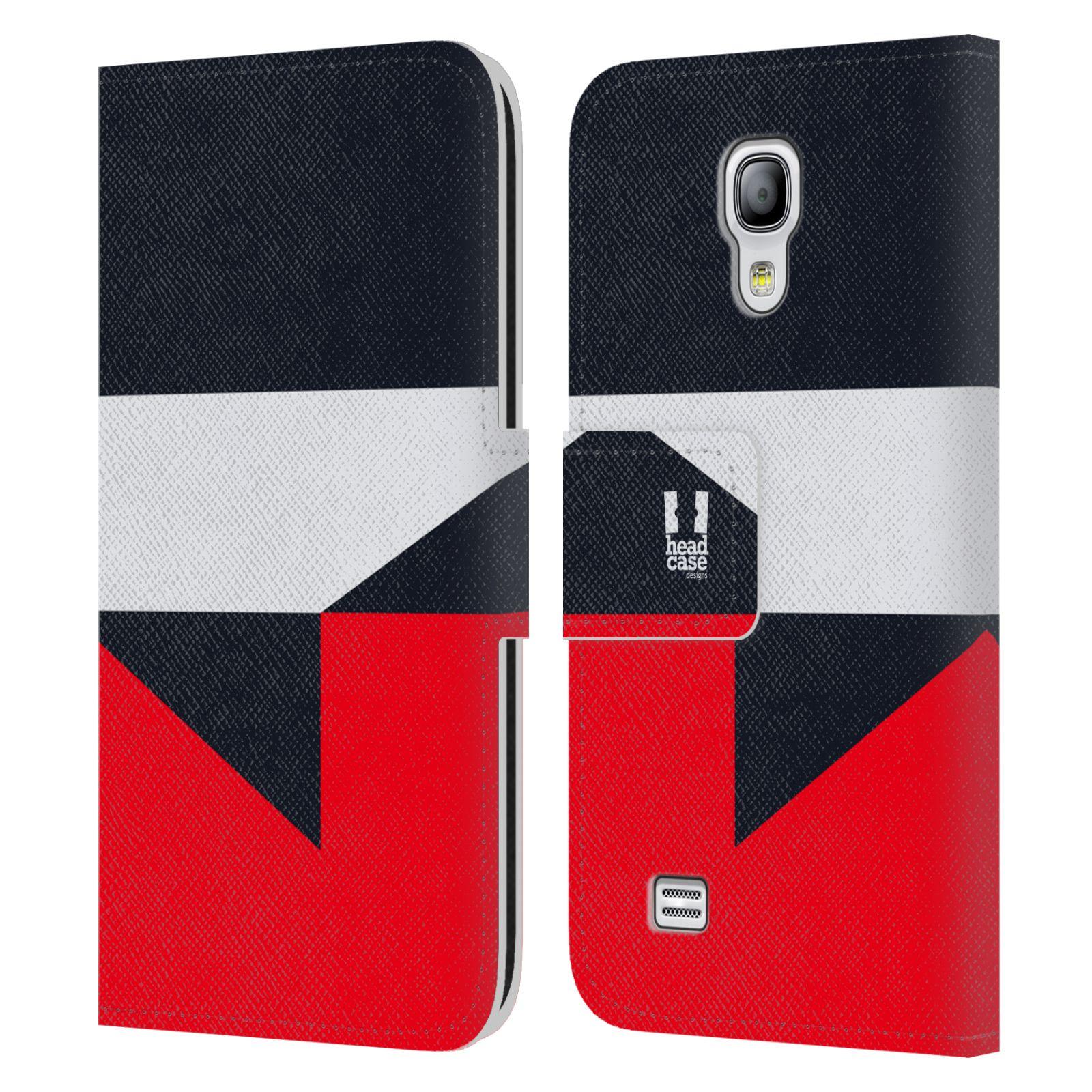 HEAD CASE Flipové pouzdro pro mobil Samsung Galaxy S4 MINI barevné tvary černá a červená gejša