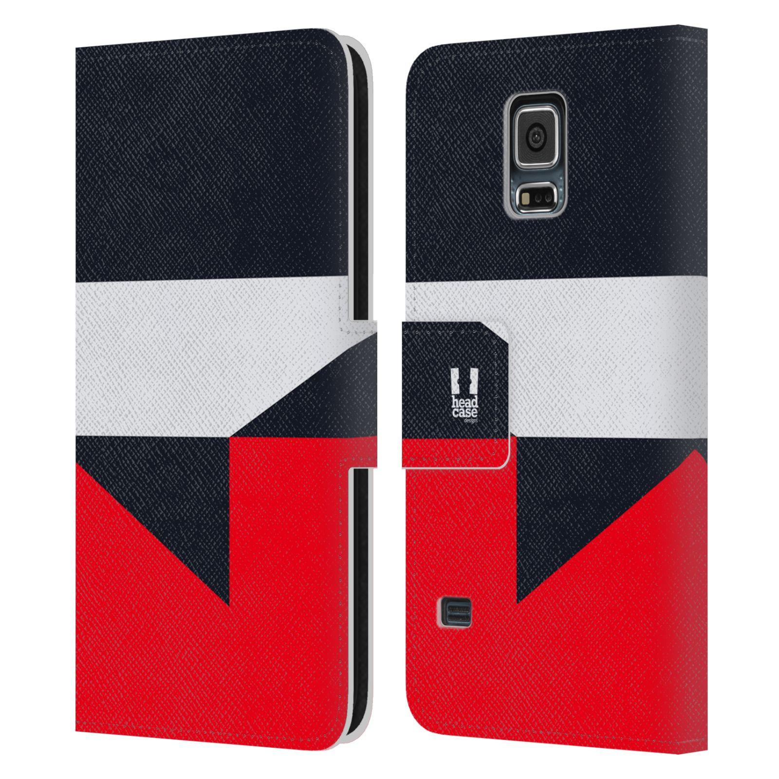 HEAD CASE Flipové pouzdro pro mobil Samsung Galaxy S5 barevné tvary černá a červená gejša