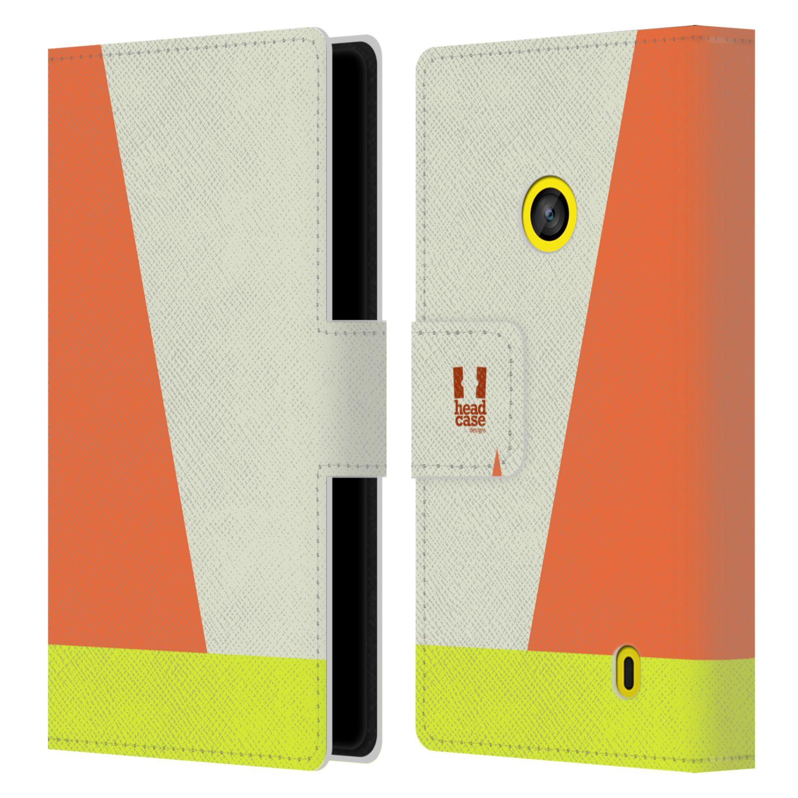 HEAD CASE Flipové pouzdro pro mobil Nokia LUMIA 520/525 barevné tvary slonová kost