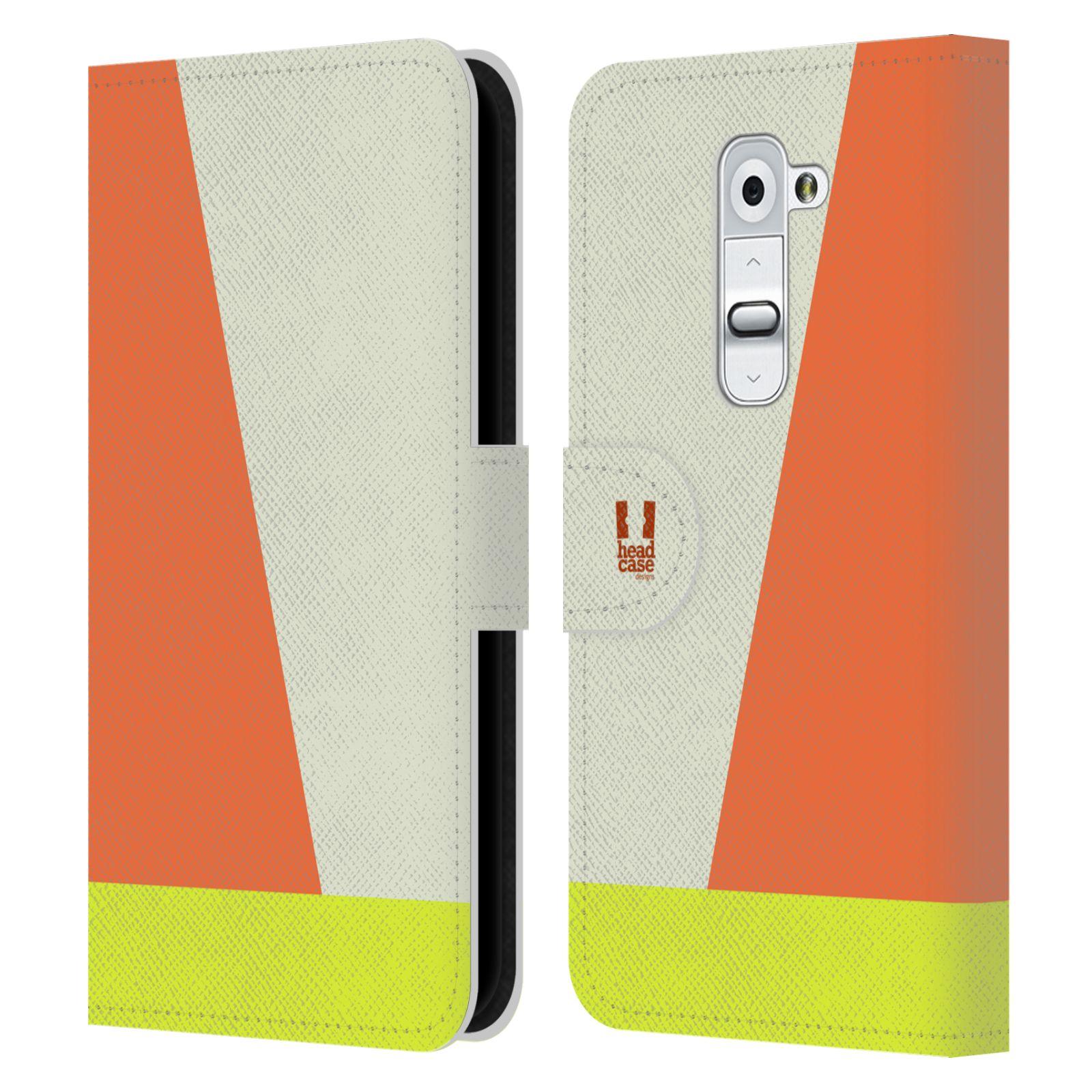 HEAD CASE Flipové pouzdro pro mobil LG G2 barevné tvary slonová kost
