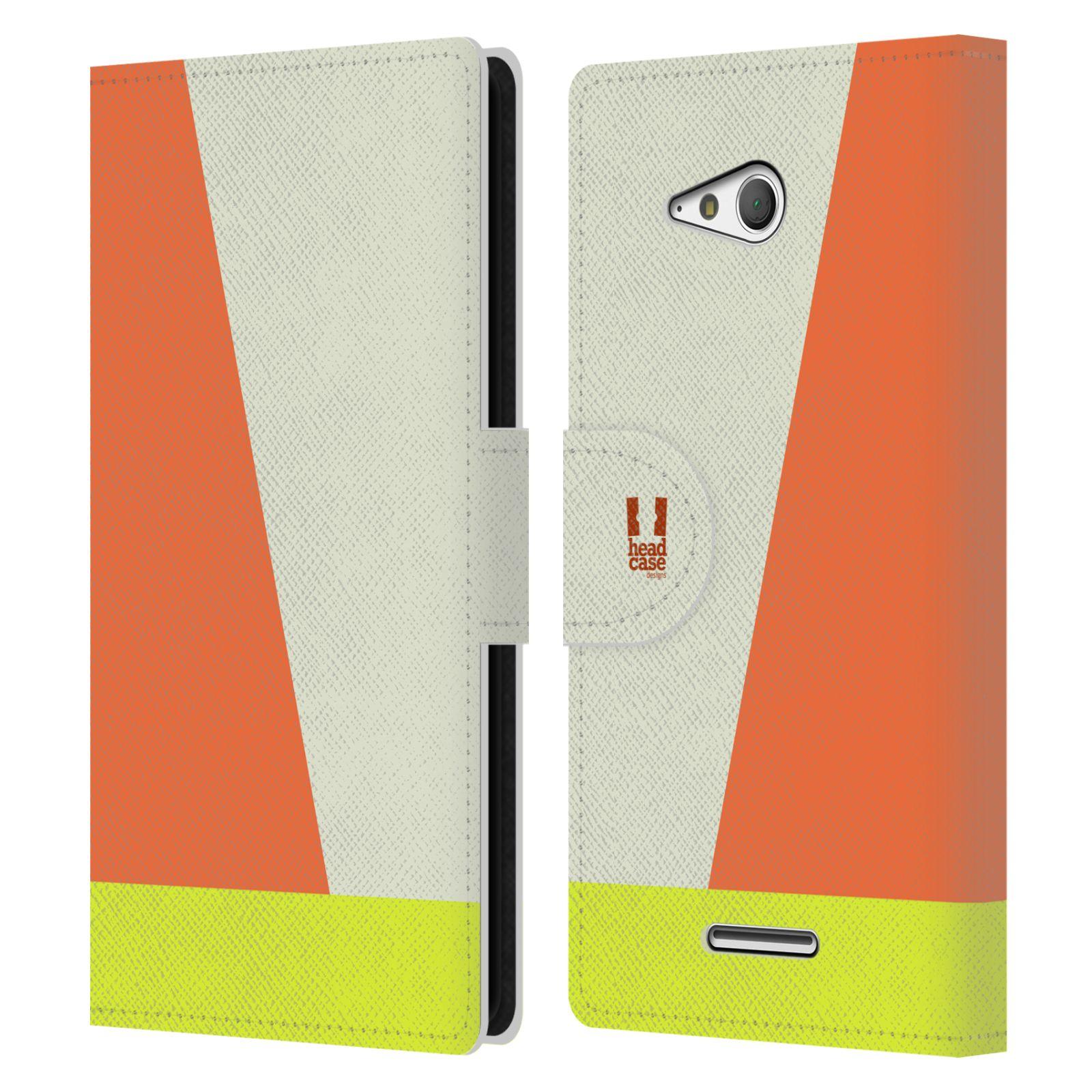 HEAD CASE Flipové pouzdro pro mobil SONY Xperia E4g barevné tvary slonová kost