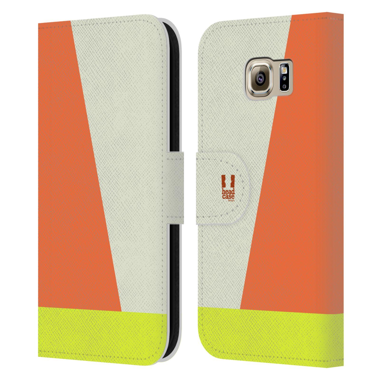 HEAD CASE Flipové pouzdro pro mobil Samsung Galaxy S6 barevné tvary slonová kost