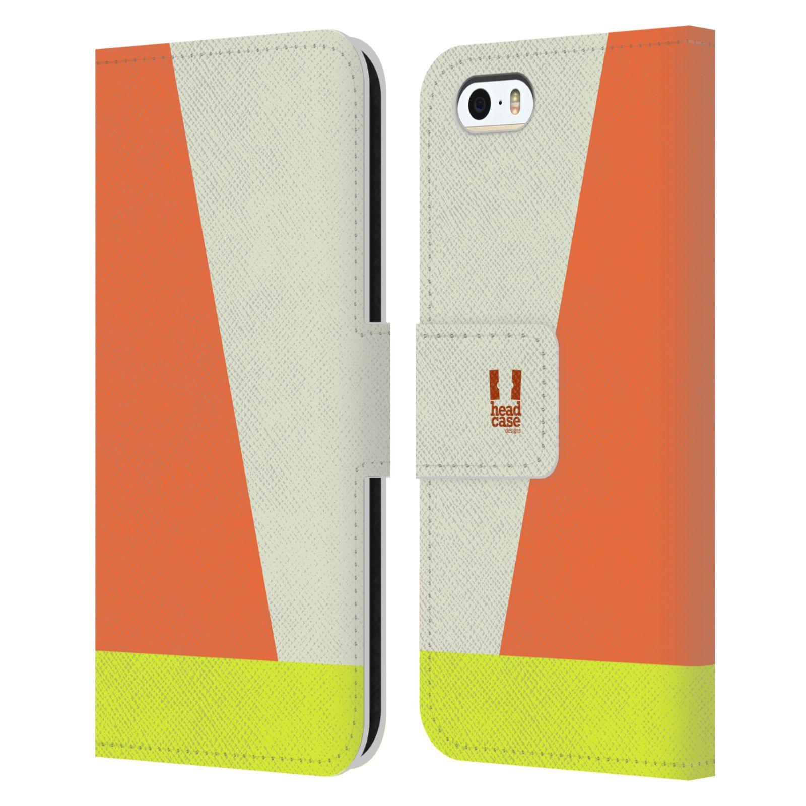 HEAD CASE Flipové pouzdro pro mobil Apple Iphone 5/5S barevné tvary slonová kost