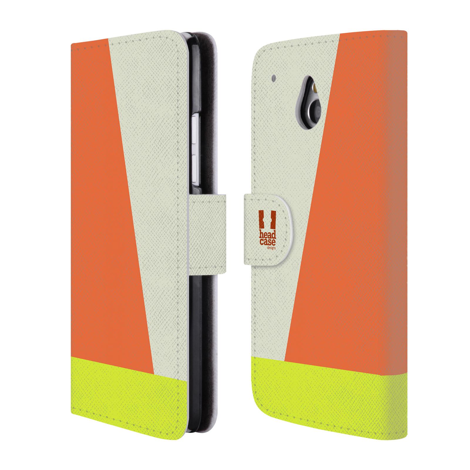 HEAD CASE Flipové pouzdro pro mobil HTC ONE MINI barevné tvary slonová kost