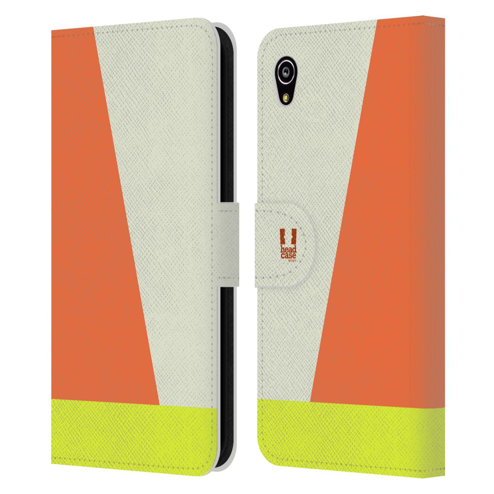 HEAD CASE Flipové pouzdro pro mobil SONY Xperia M4 Aqua barevné tvary slonová kost