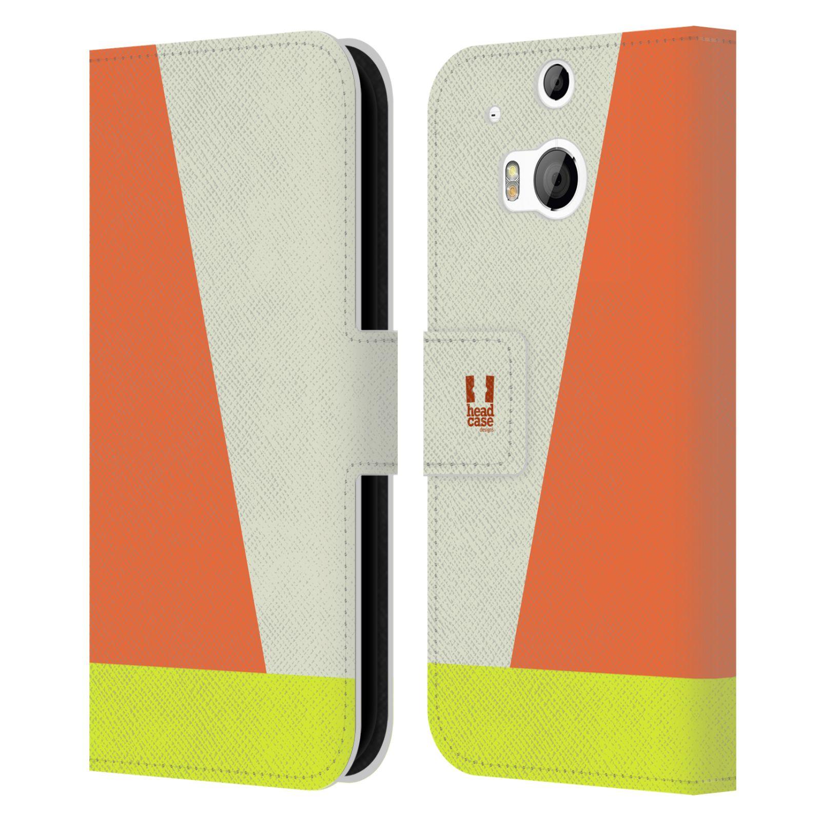 HEAD CASE Flipové pouzdro pro mobil HTC ONE M8/M8s barevné tvary slonová kost