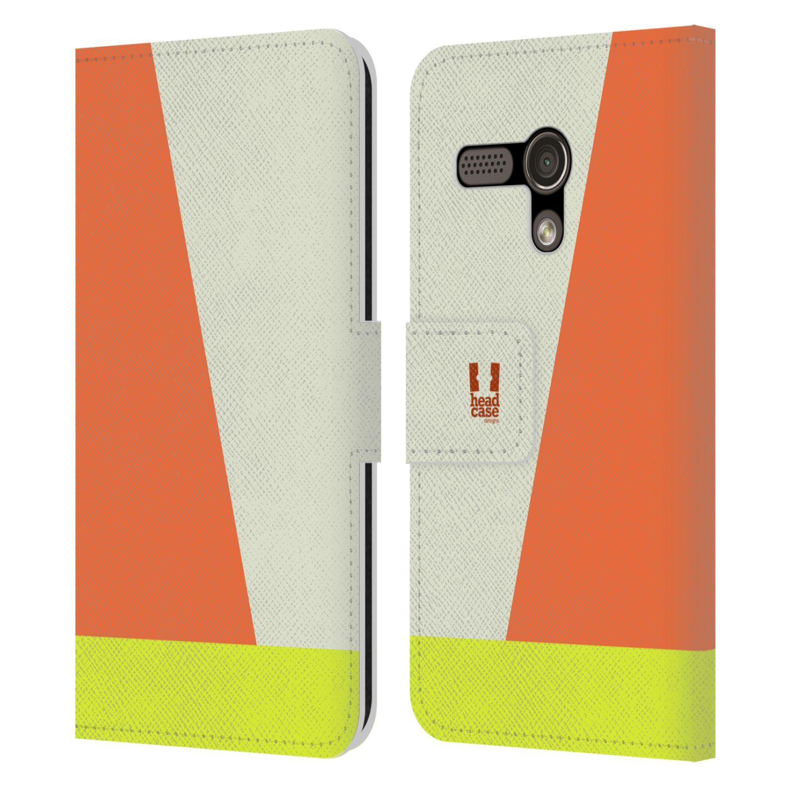 HEAD CASE Flipové pouzdro pro mobil Motorola MOTO G barevné tvary slonová kost