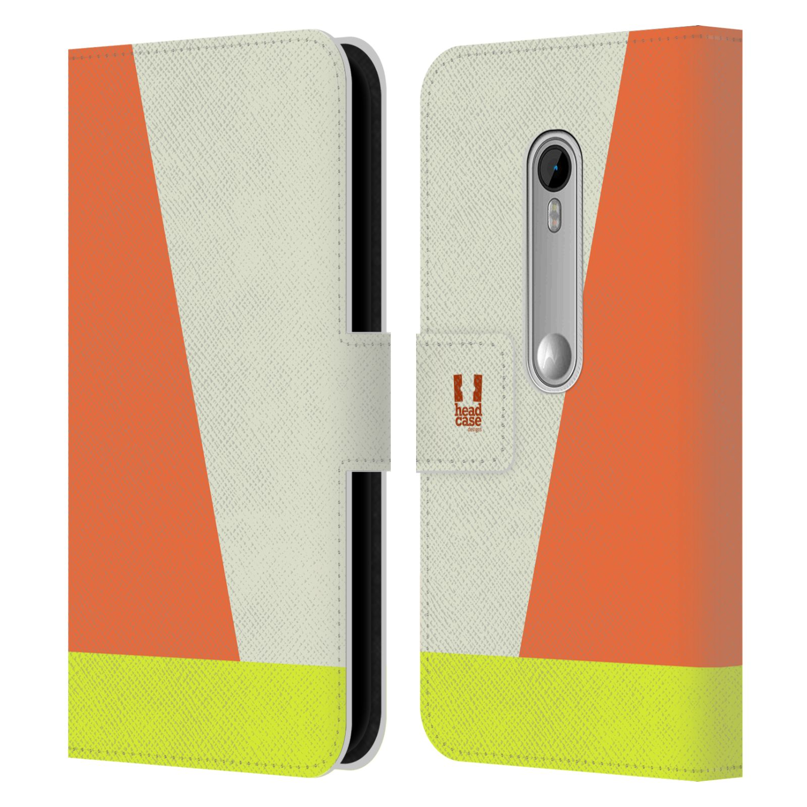 HEAD CASE Flipové pouzdro pro mobil Motorola MOTO G 3RD GENERATION barevné tvary slonová kost