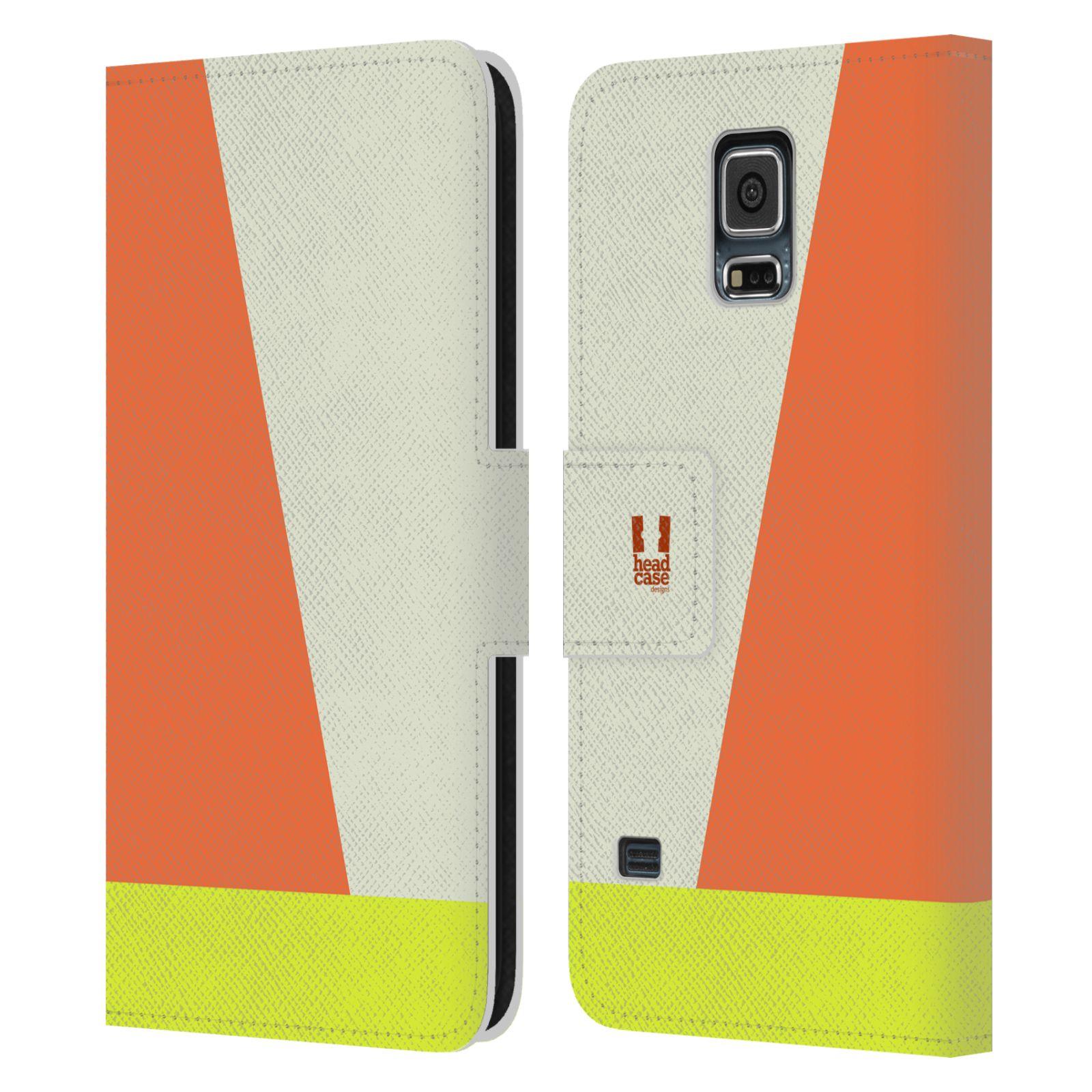 HEAD CASE Flipové pouzdro pro mobil Samsung Galaxy S5 barevné tvary slonová kost