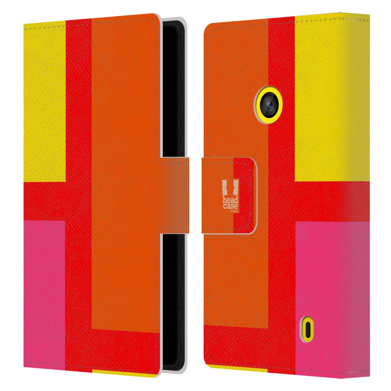 HEAD CASE Flipové pouzdro pro mobil Nokia LUMIA 520/525 barevné tvary oranžová ulice