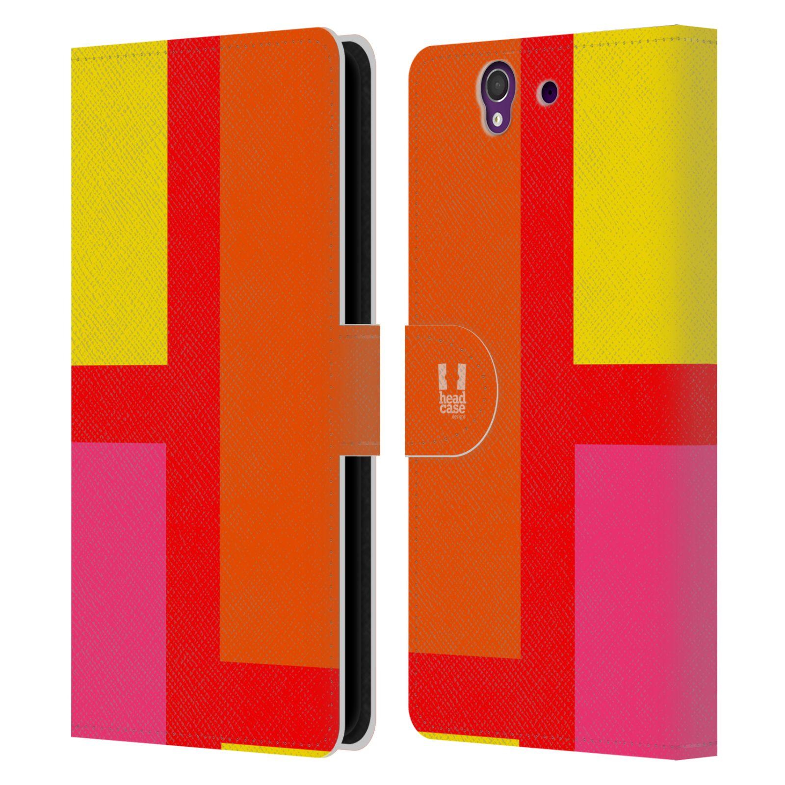 HEAD CASE Flipové pouzdro pro mobil SONY Xperia Z barevné tvary oranžová ulice