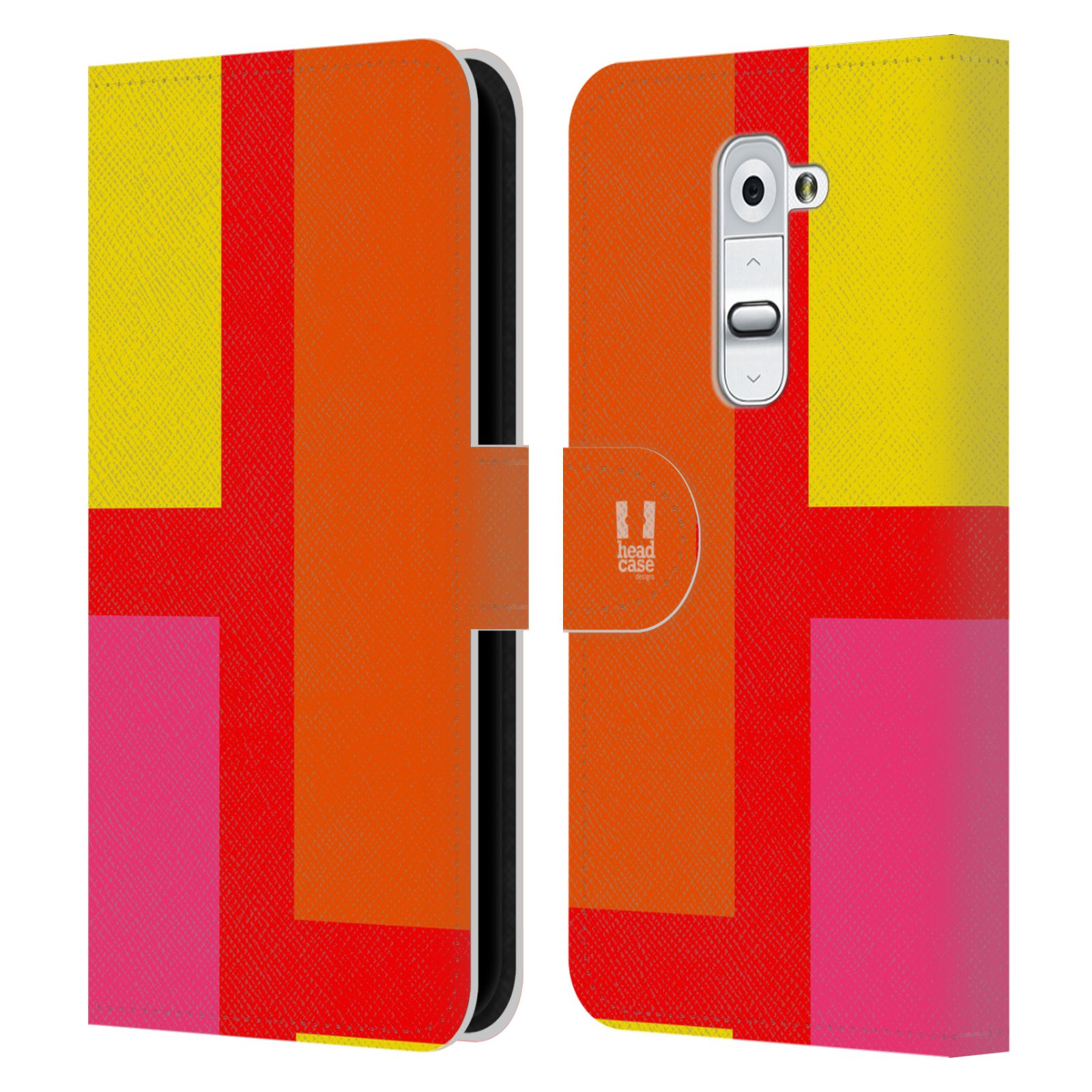 HEAD CASE Flipové pouzdro pro mobil LG G2 barevné tvary oranžová ulice