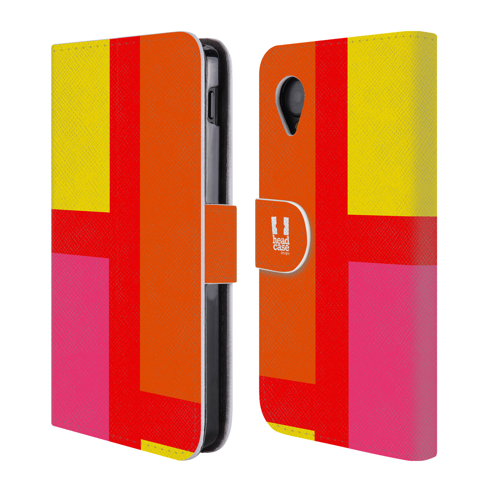 HEAD CASE Flipové pouzdro pro mobil LG GOOGLE NEXUS 5 barevné tvary oranžová ulice