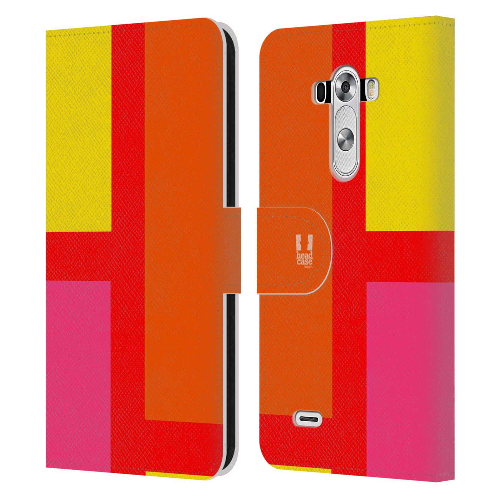 HEAD CASE Flipové pouzdro pro mobil LG G3 barevné tvary oranžová ulice