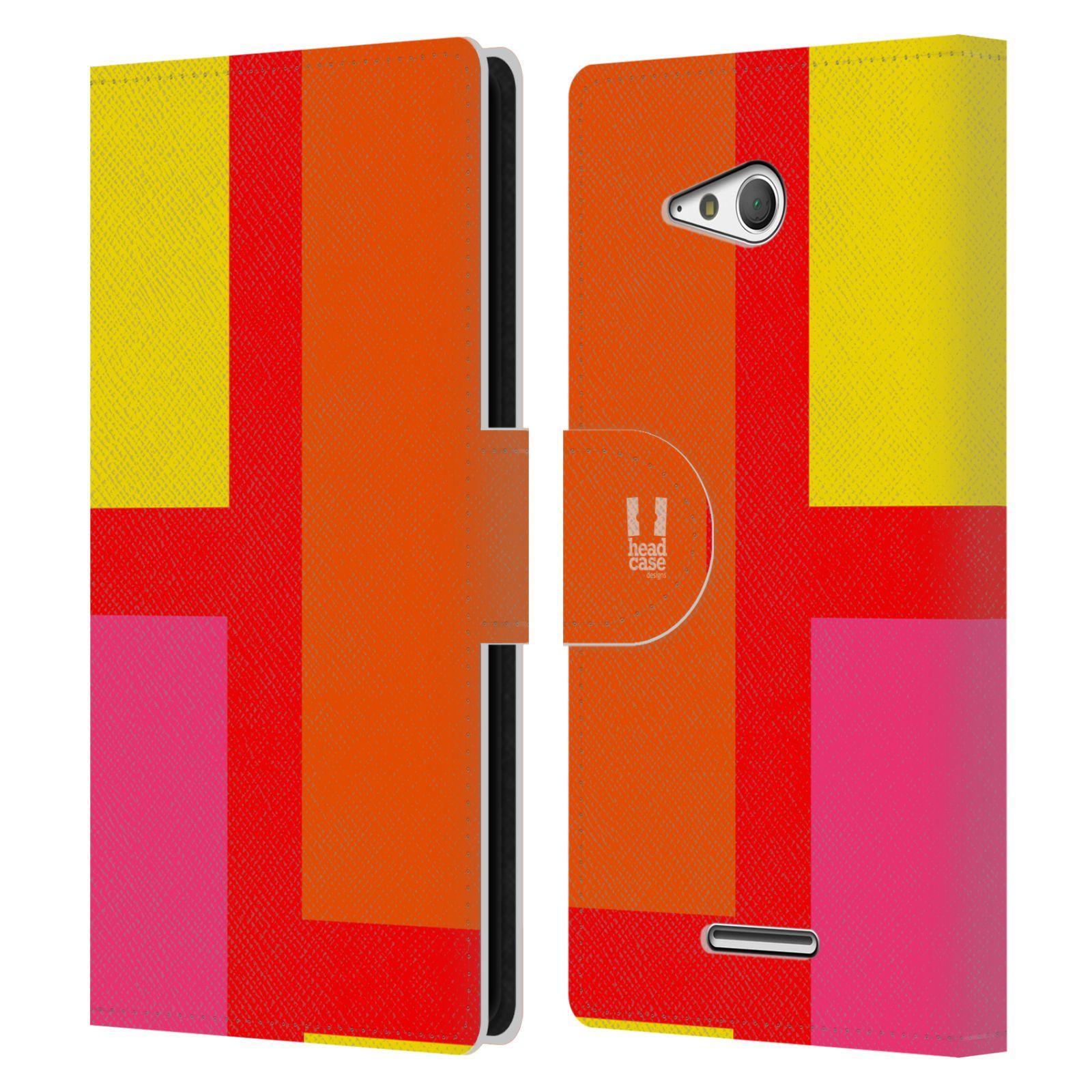 HEAD CASE Flipové pouzdro pro mobil SONY Xperia E4g barevné tvary oranžová ulice
