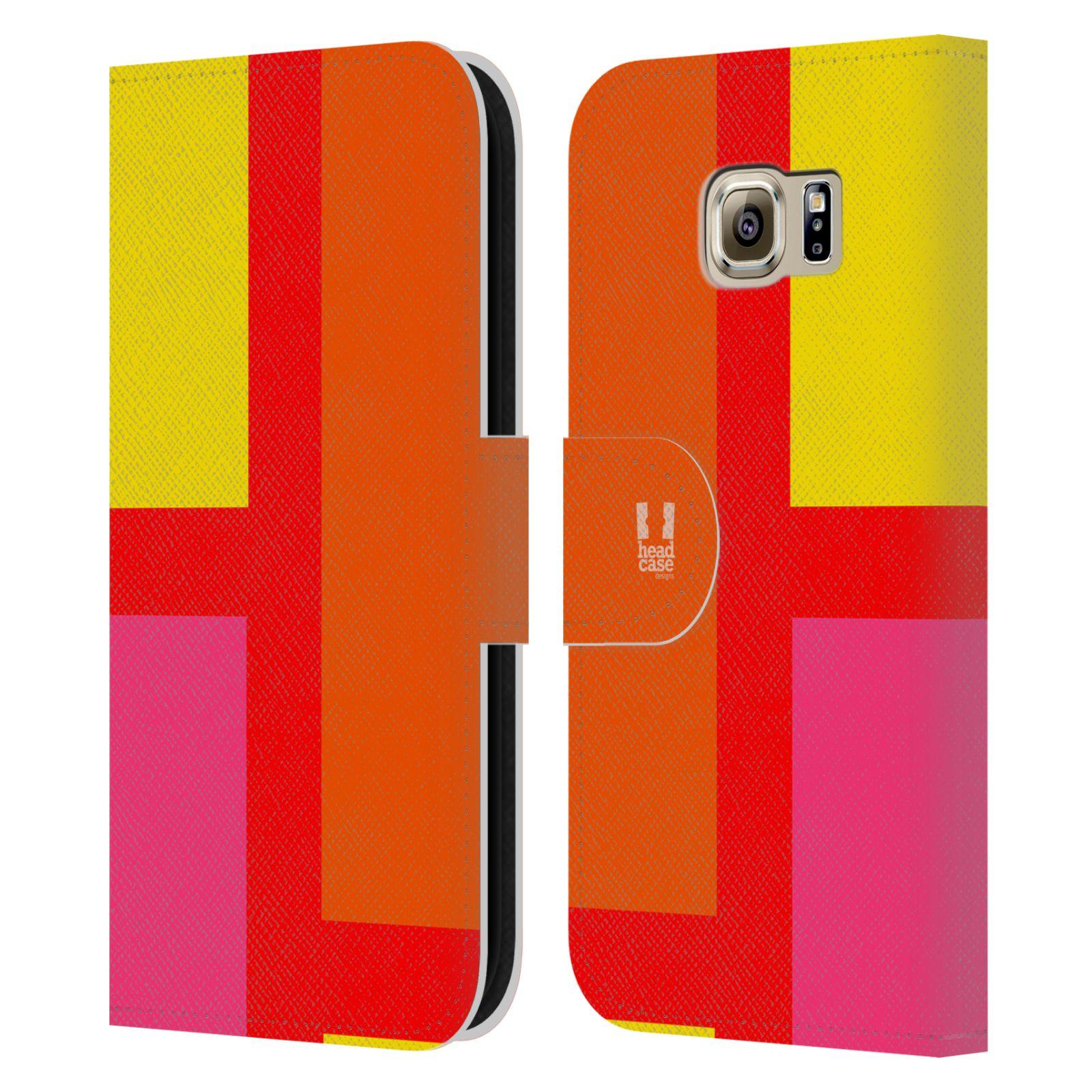 HEAD CASE Flipové pouzdro pro mobil Samsung Galaxy S6 barevné tvary oranžová ulice