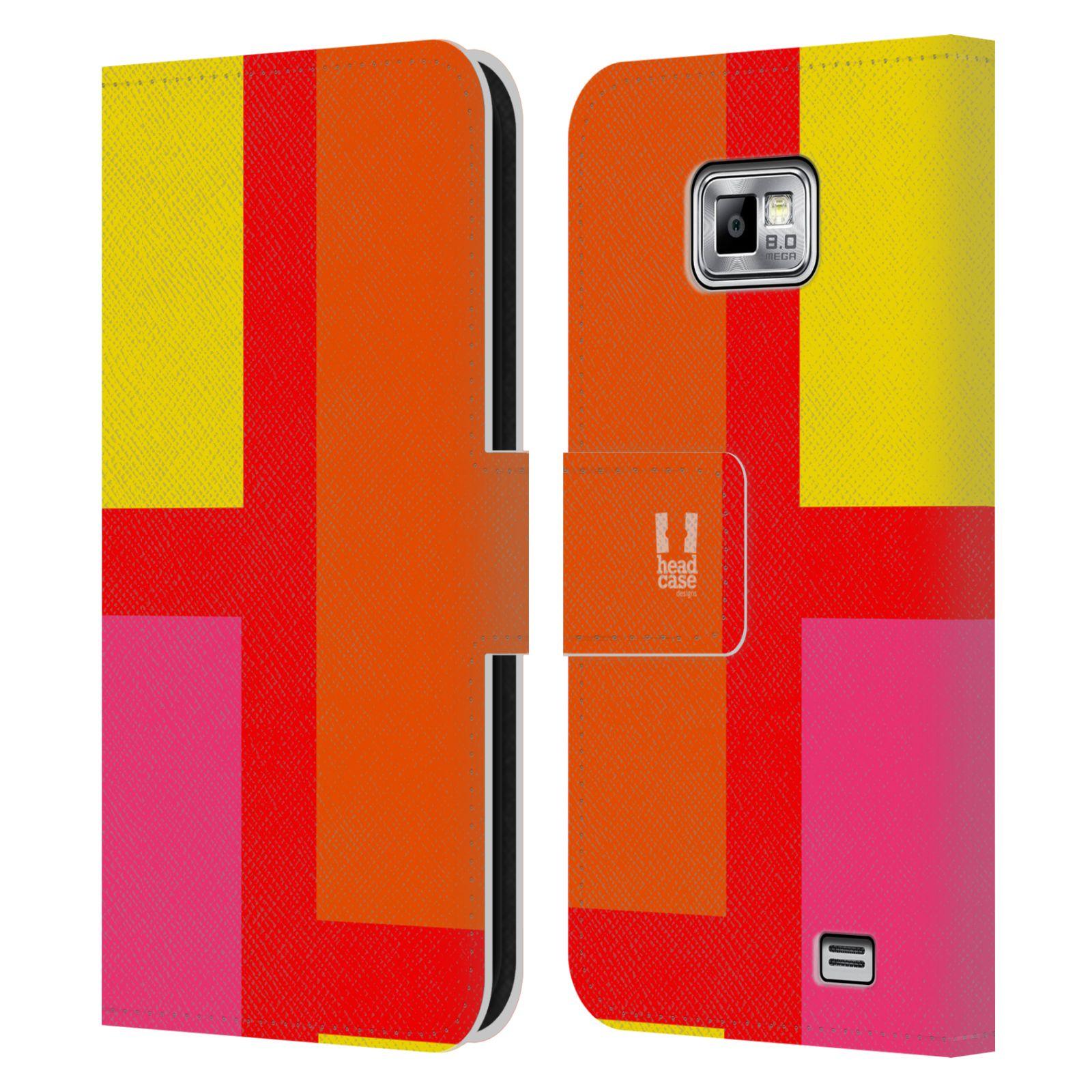 HEAD CASE Flipové pouzdro pro mobil Samsung Galaxy S2 i9100 barevné tvary oranžová ulice