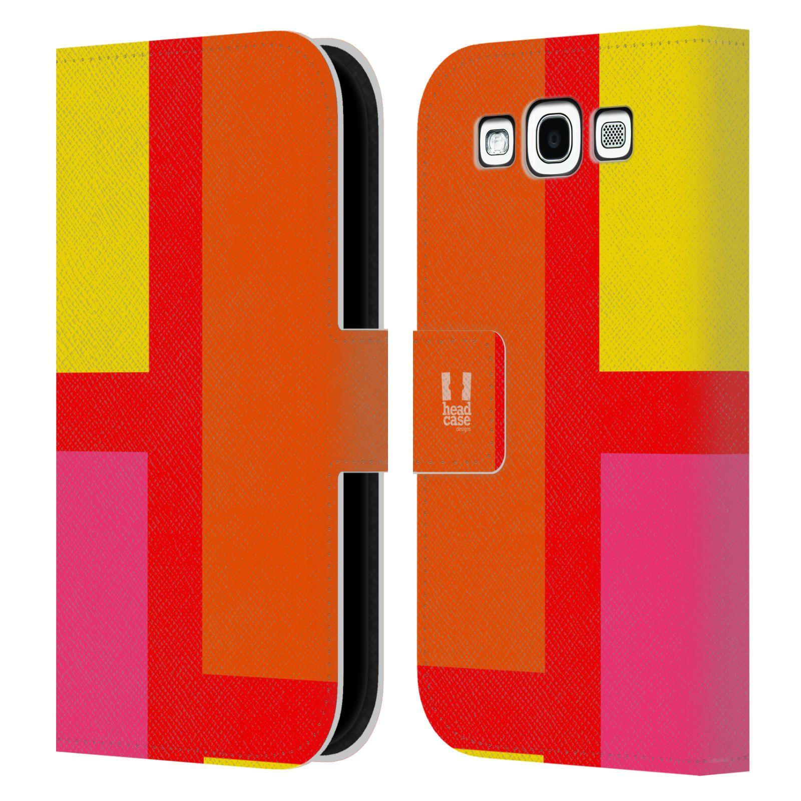 HEAD CASE Flipové pouzdro pro mobil Samsung Galaxy S3 I9300 barevné tvary oranžová ulice