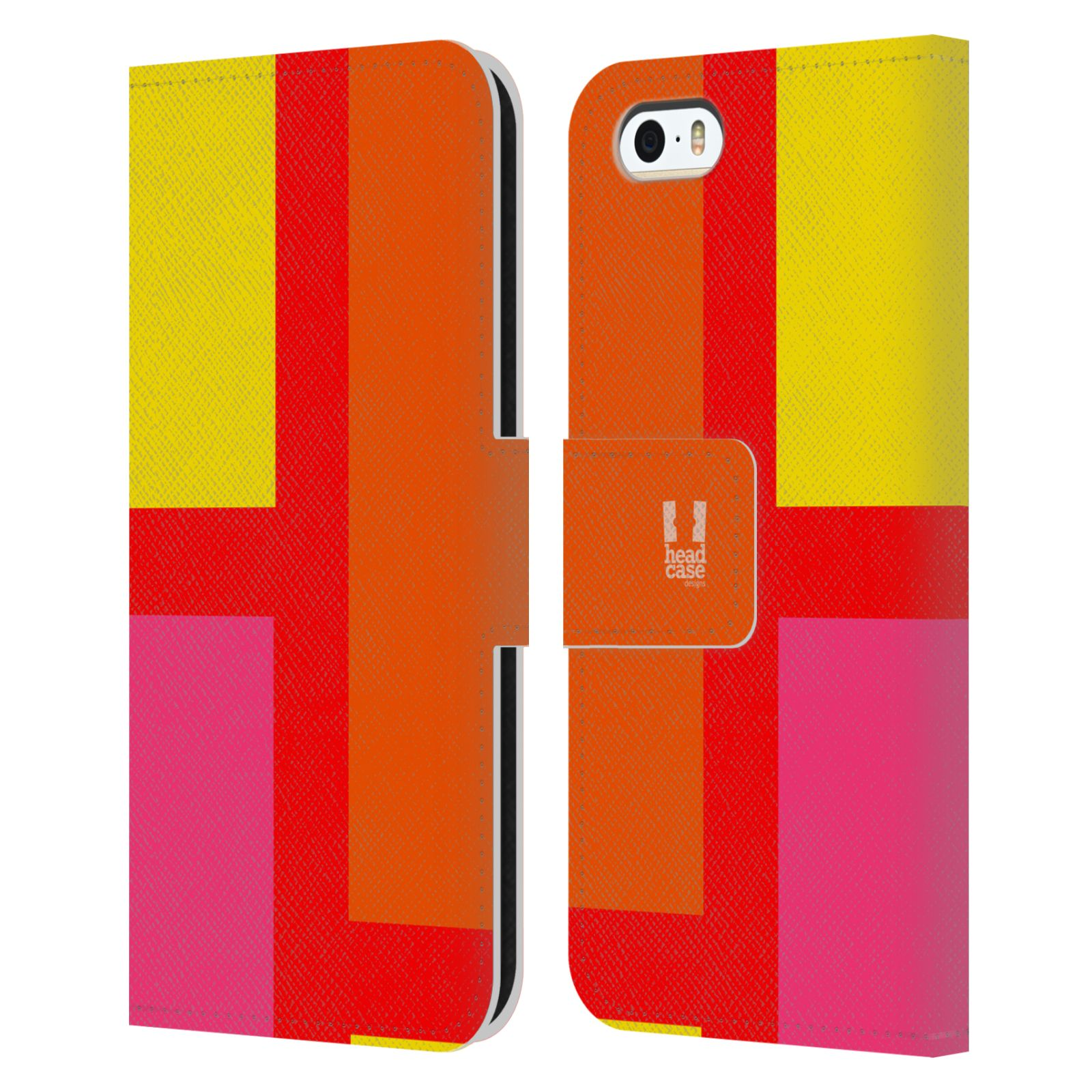 HEAD CASE Flipové pouzdro pro mobil Apple Iphone 5/5S barevné tvary oranžová ulice